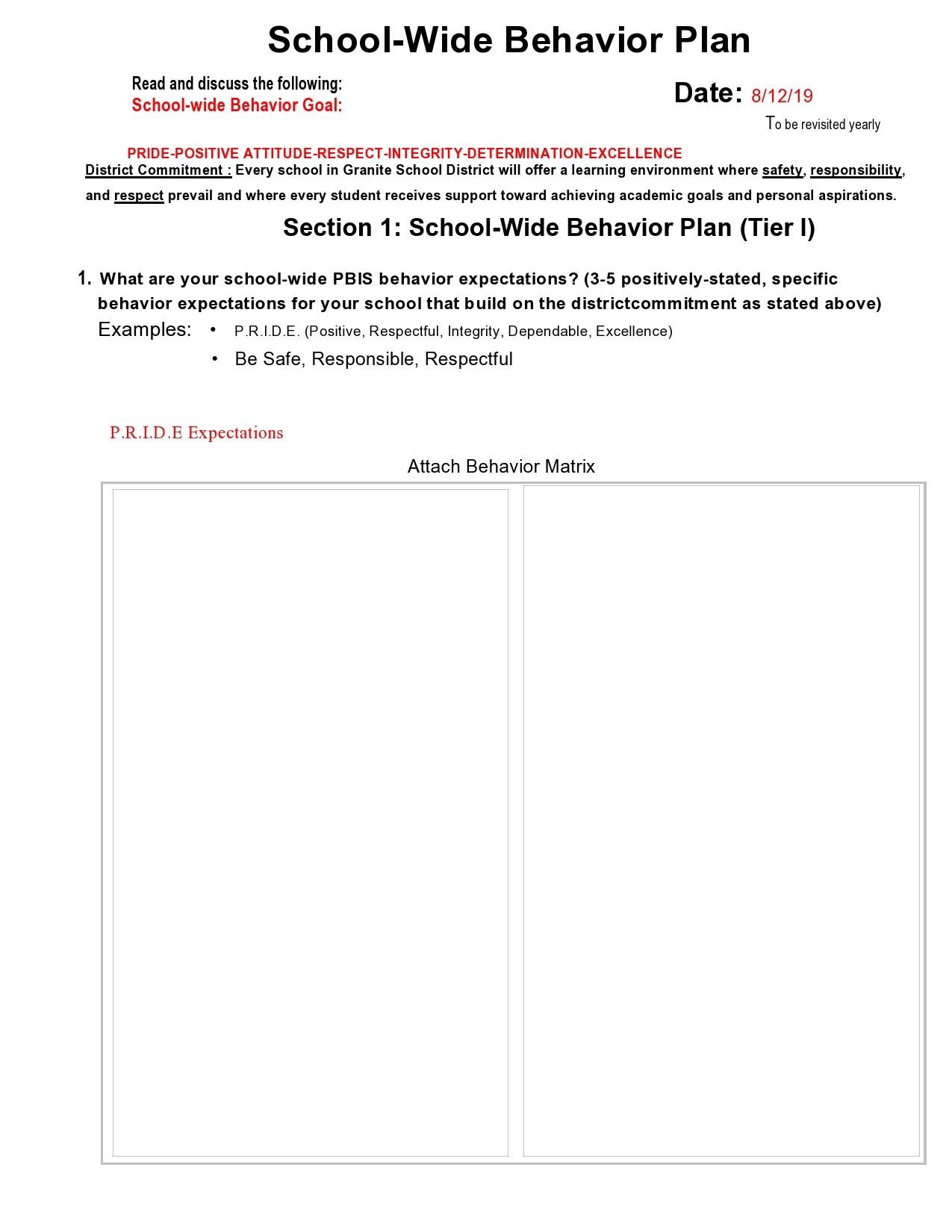 Free behavior plan template 34