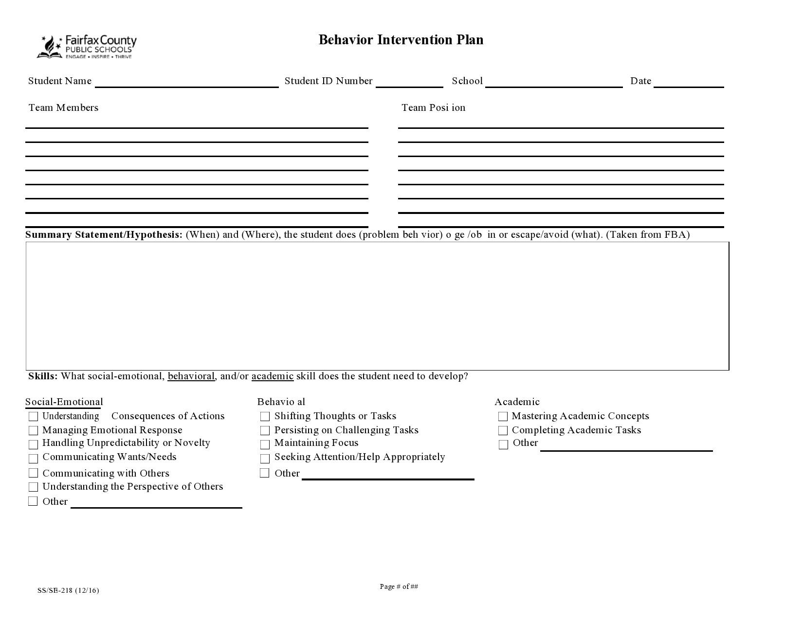 Free behavior plan template 37