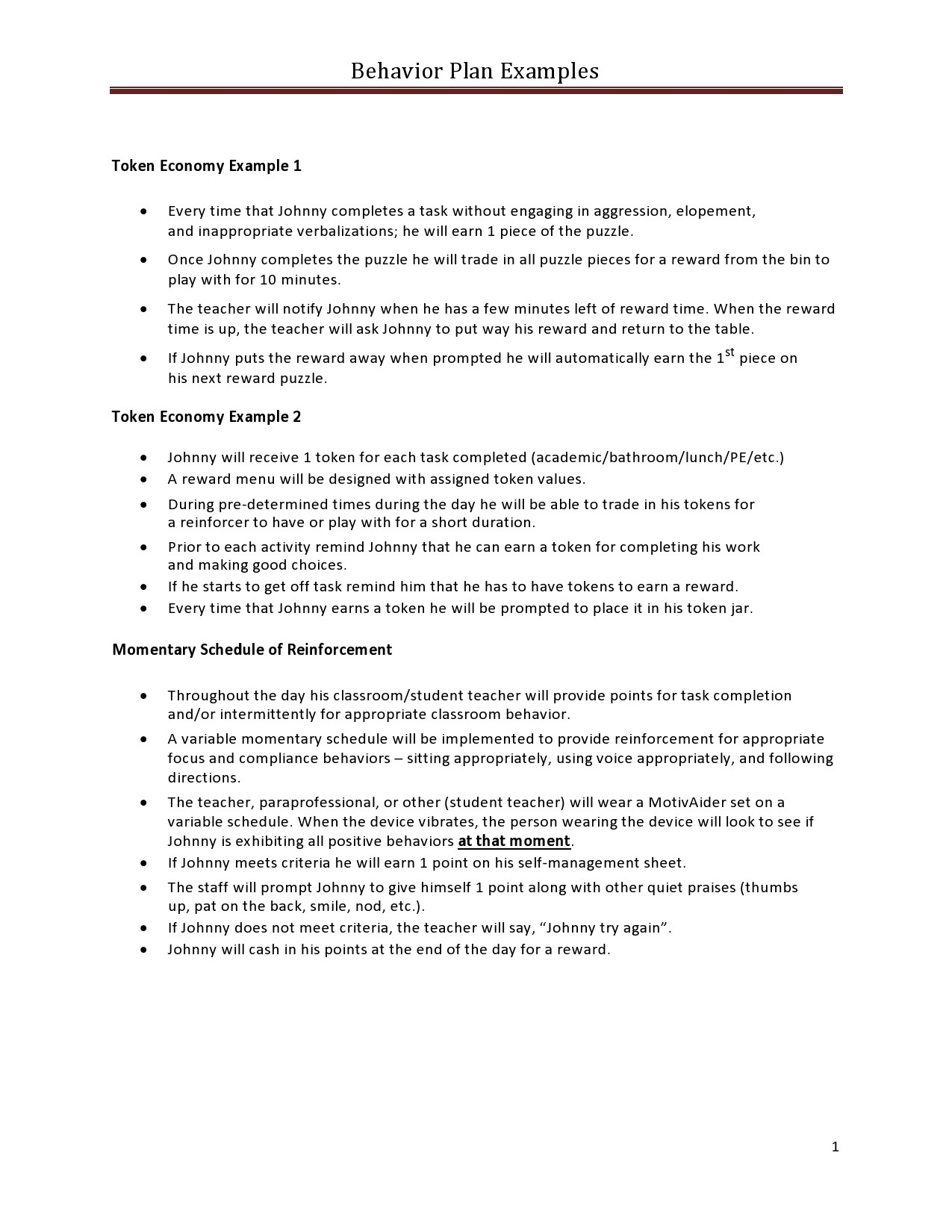 Free behavior plan template 41