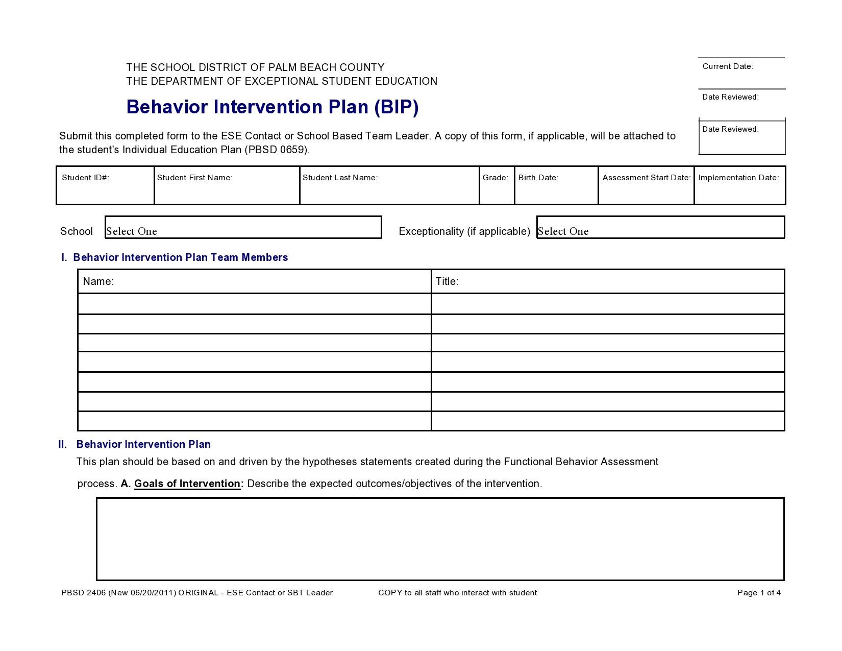 Free behavior plan template 46