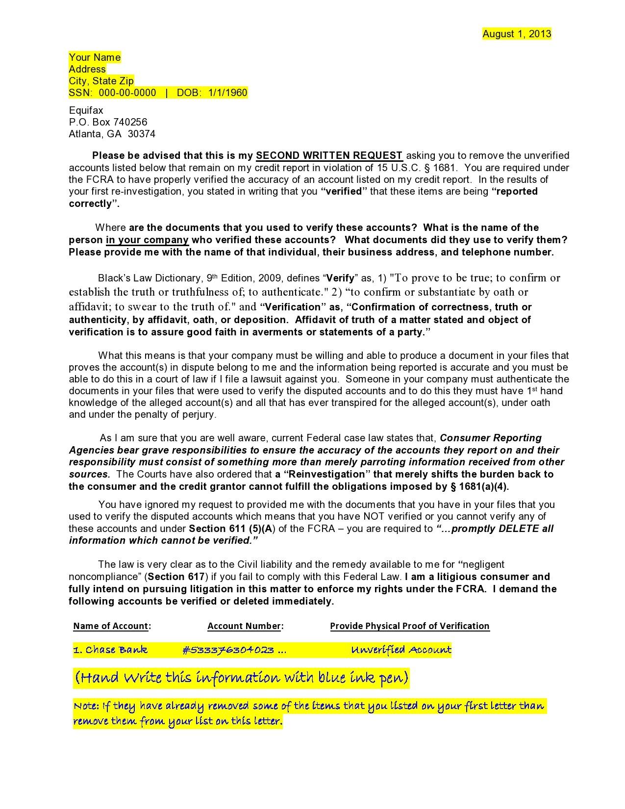 Free credit dispute letter 02