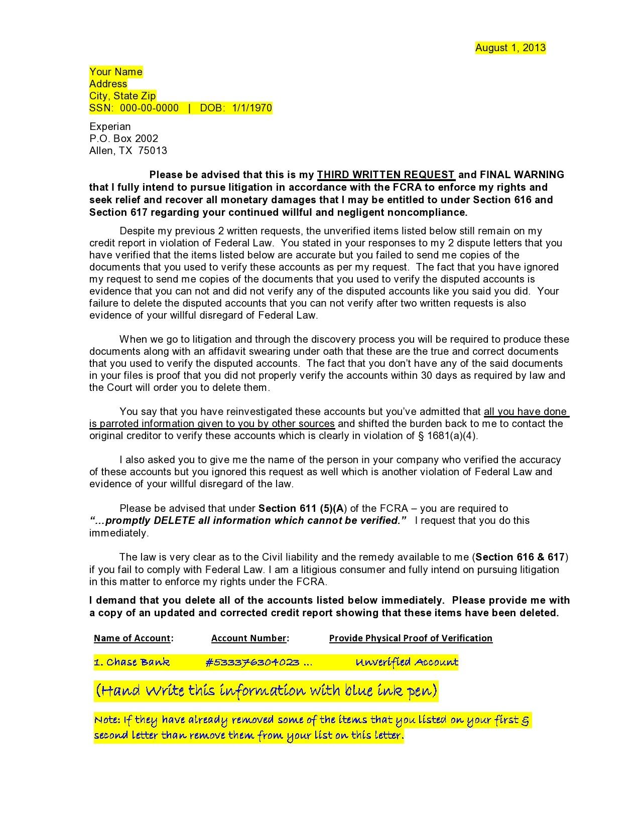 Free credit dispute letter 03