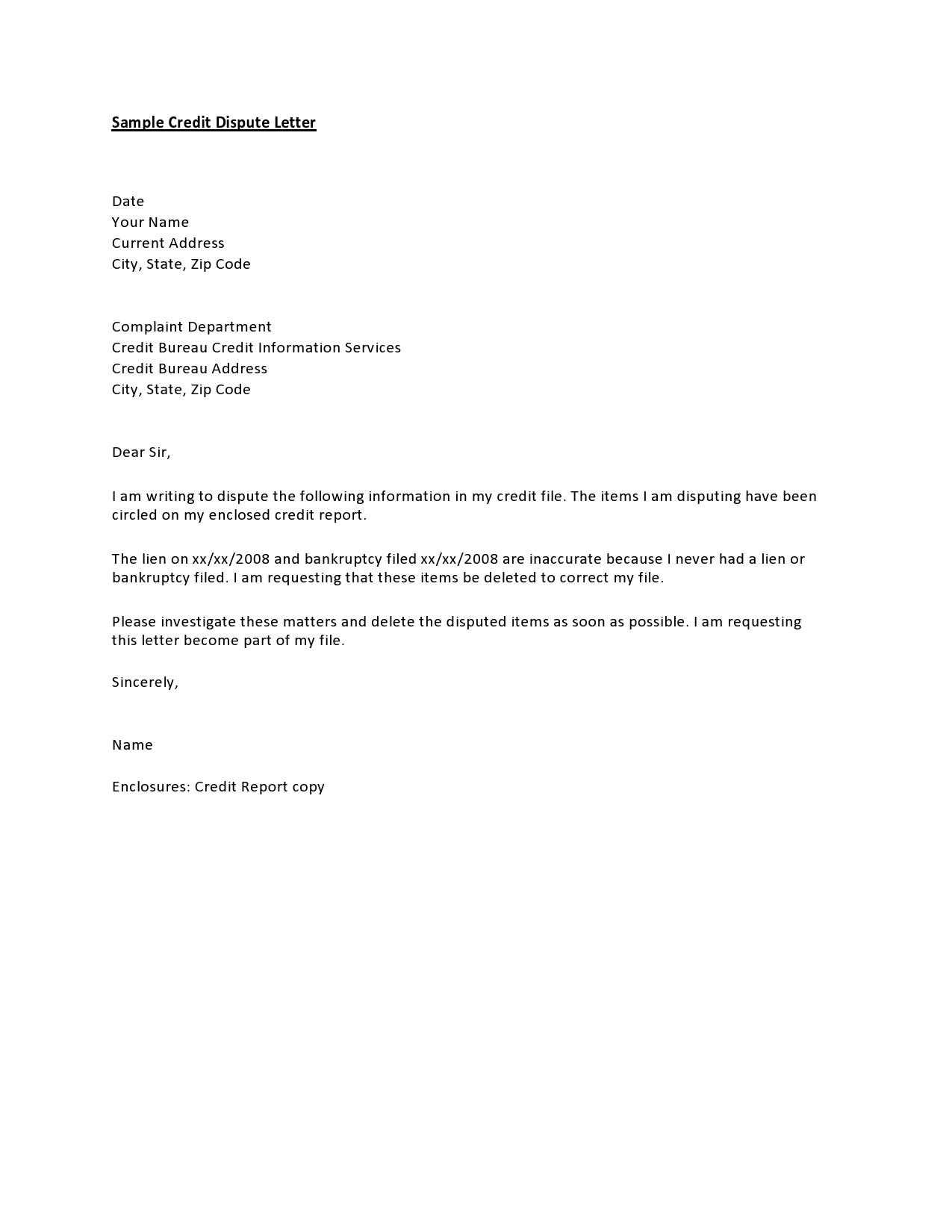 Free credit dispute letter 05