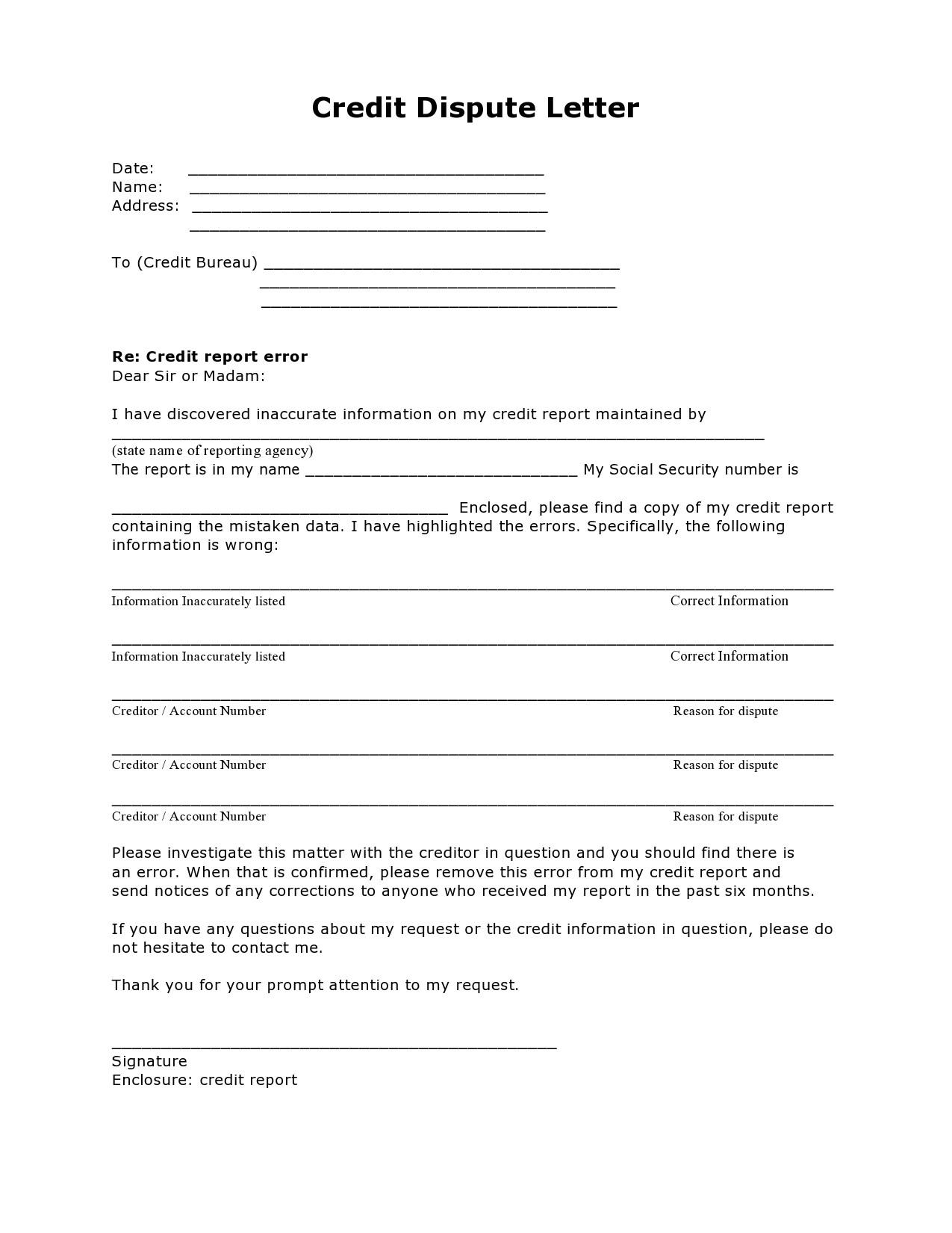 Free credit dispute letter 07