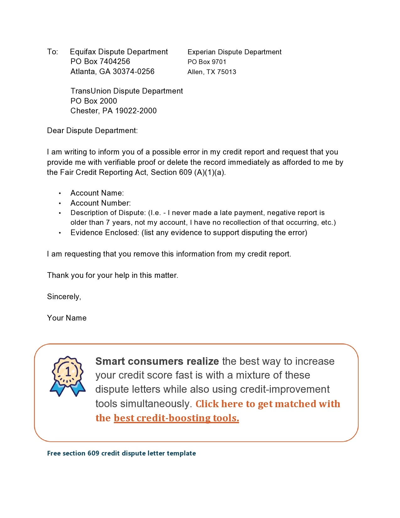 Free credit dispute letter 08