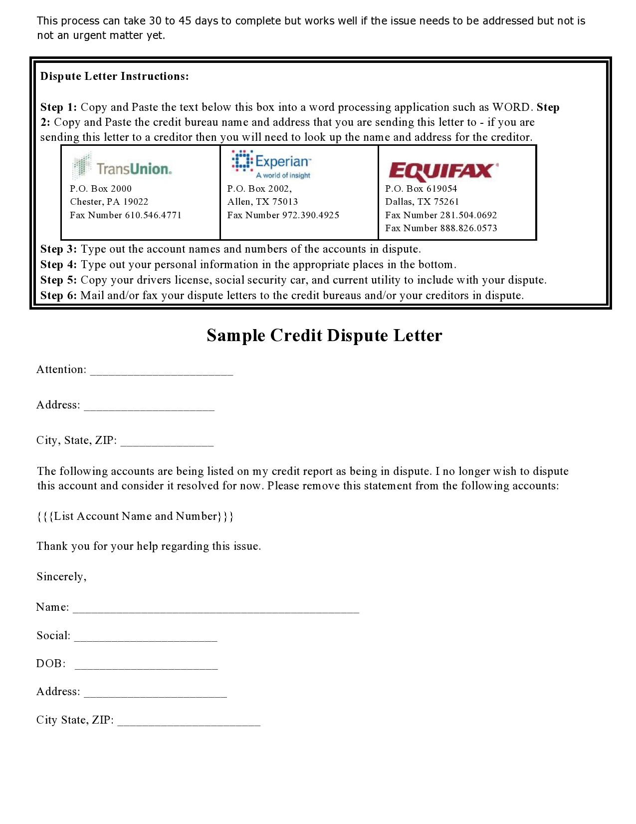Free credit dispute letter 10