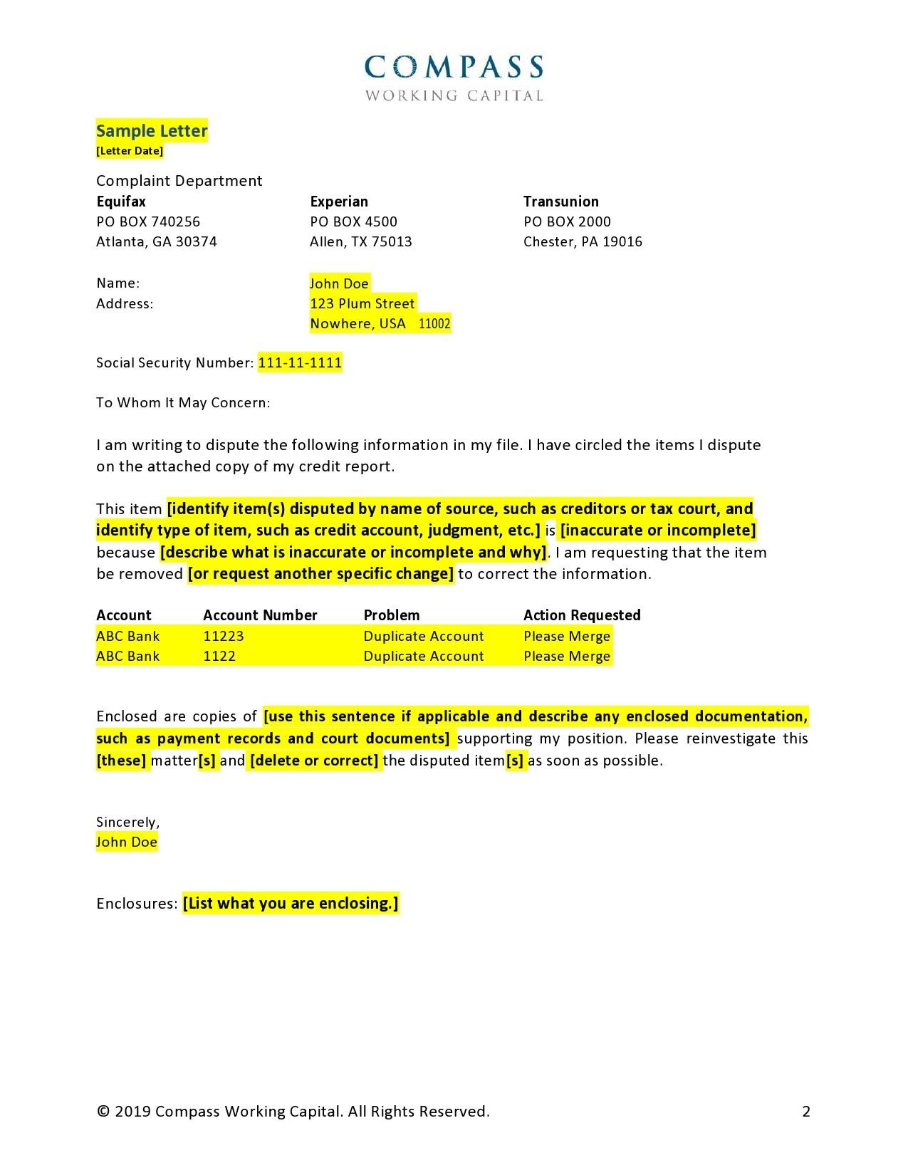 Free credit dispute letter 13