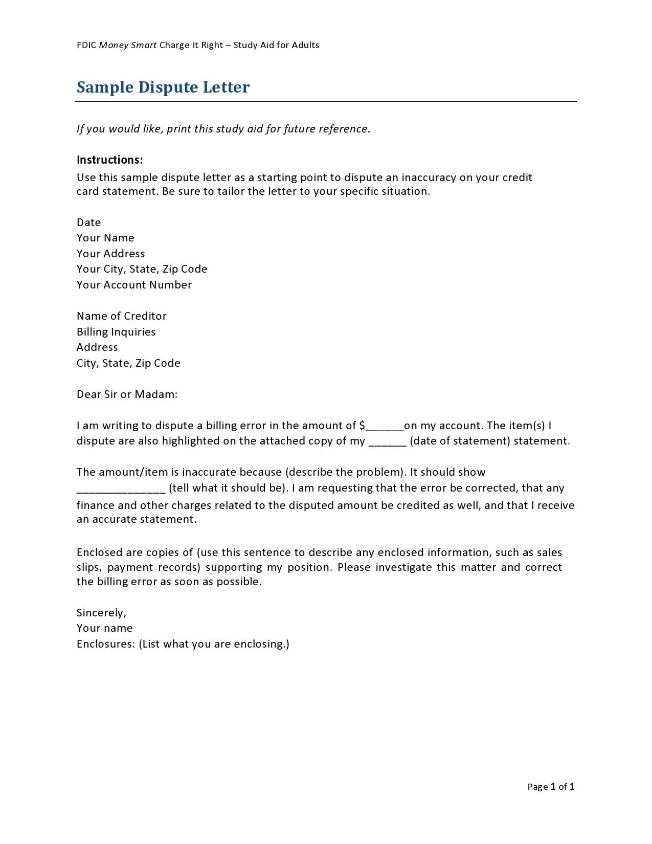 Free credit dispute letter 14