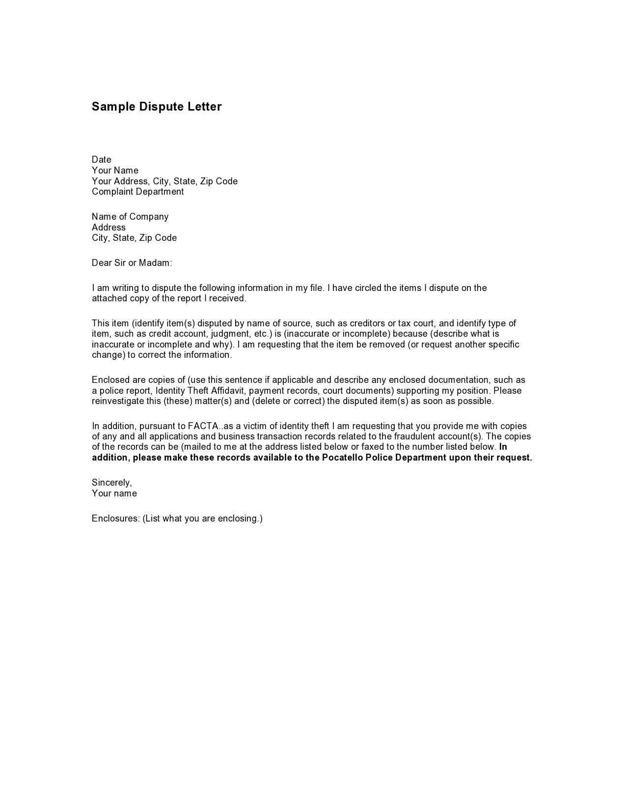 Free credit dispute letter 22