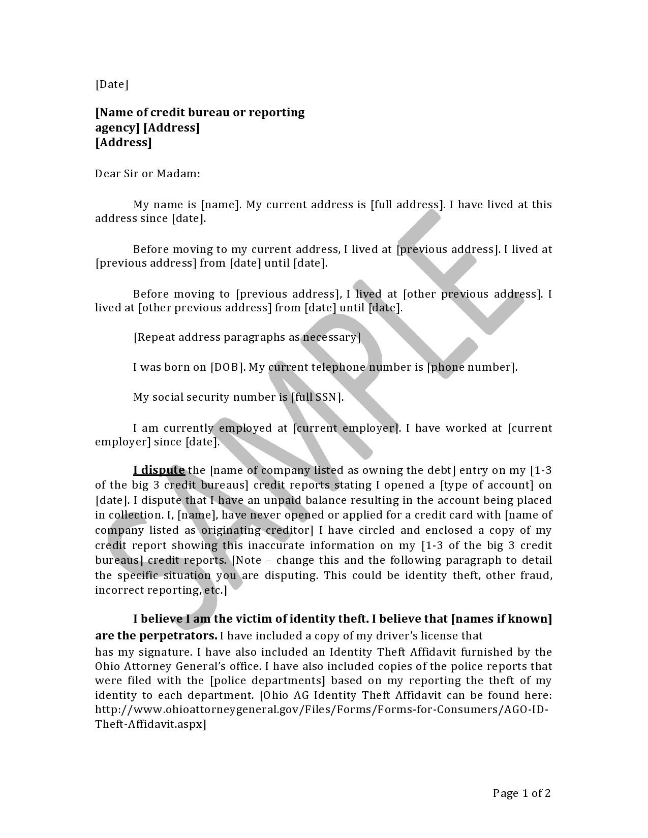 Free credit dispute letter 26