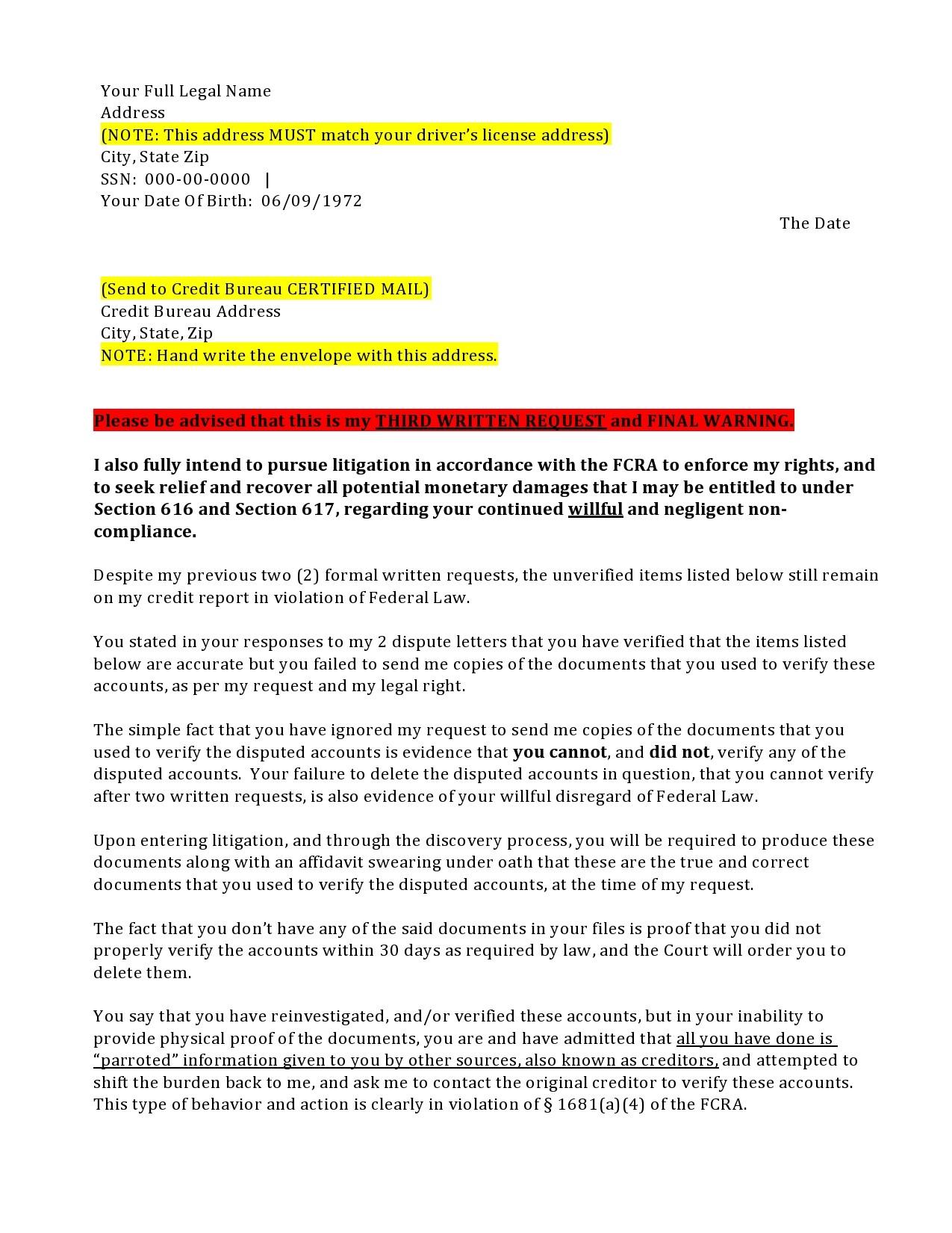 Free credit dispute letter 28