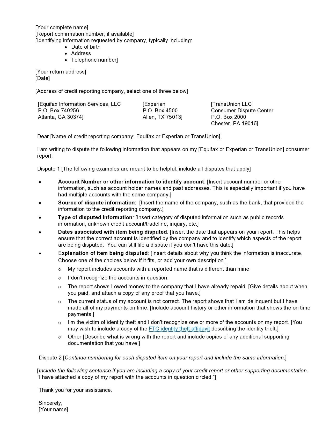 Free credit dispute letter 29