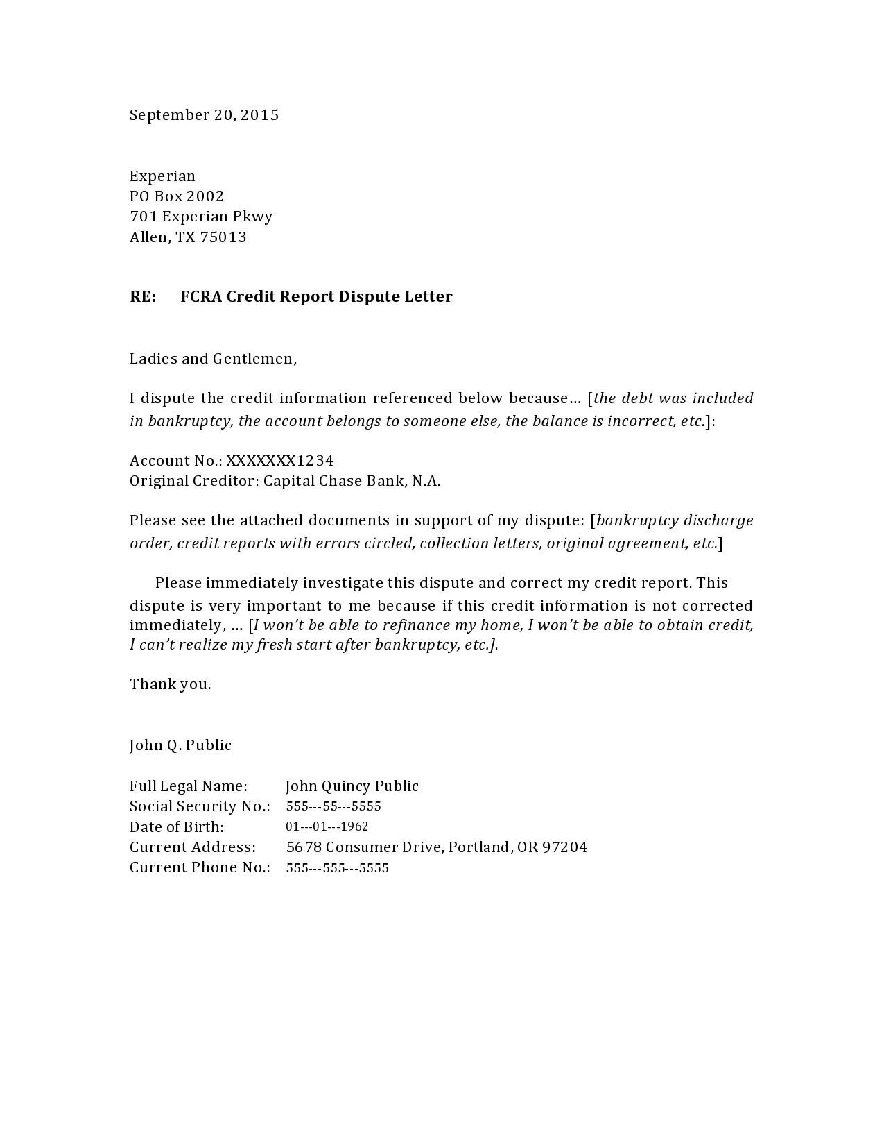 Free credit dispute letter 31