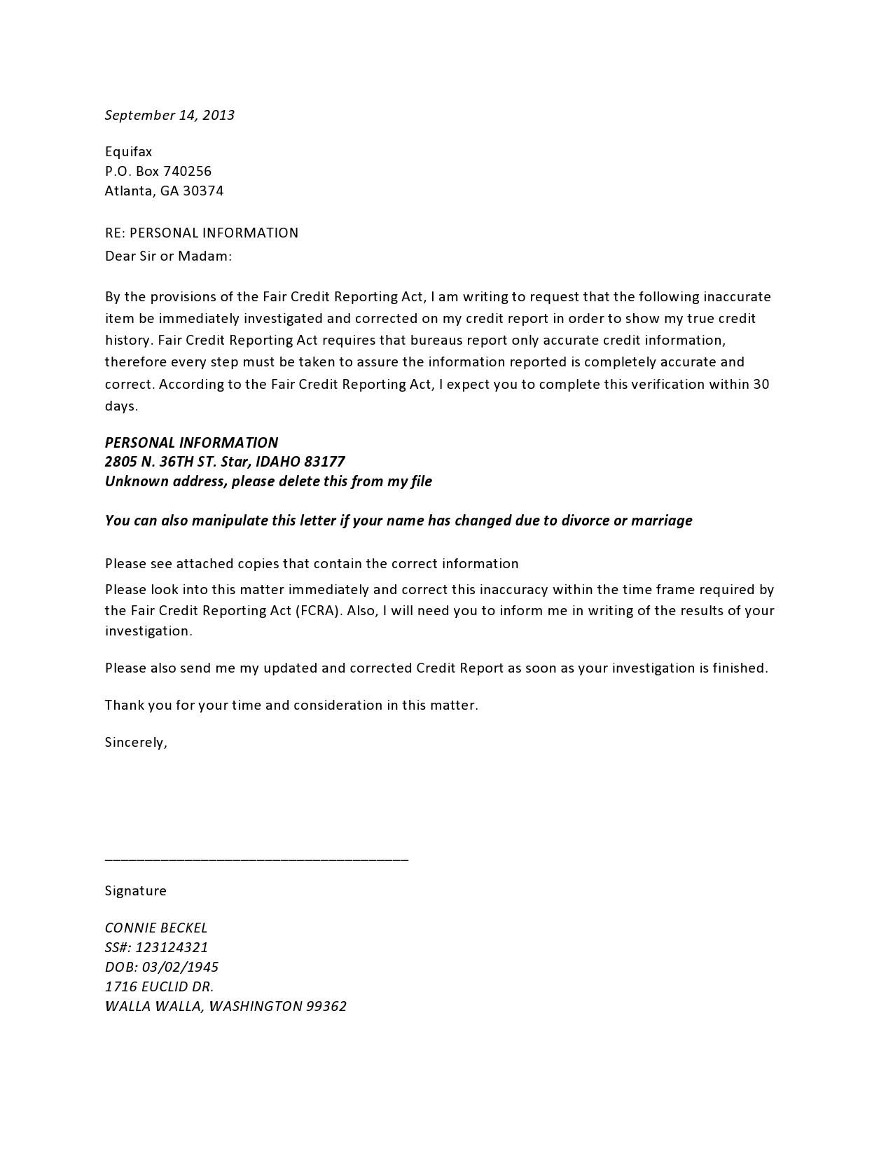 Free credit dispute letter 34
