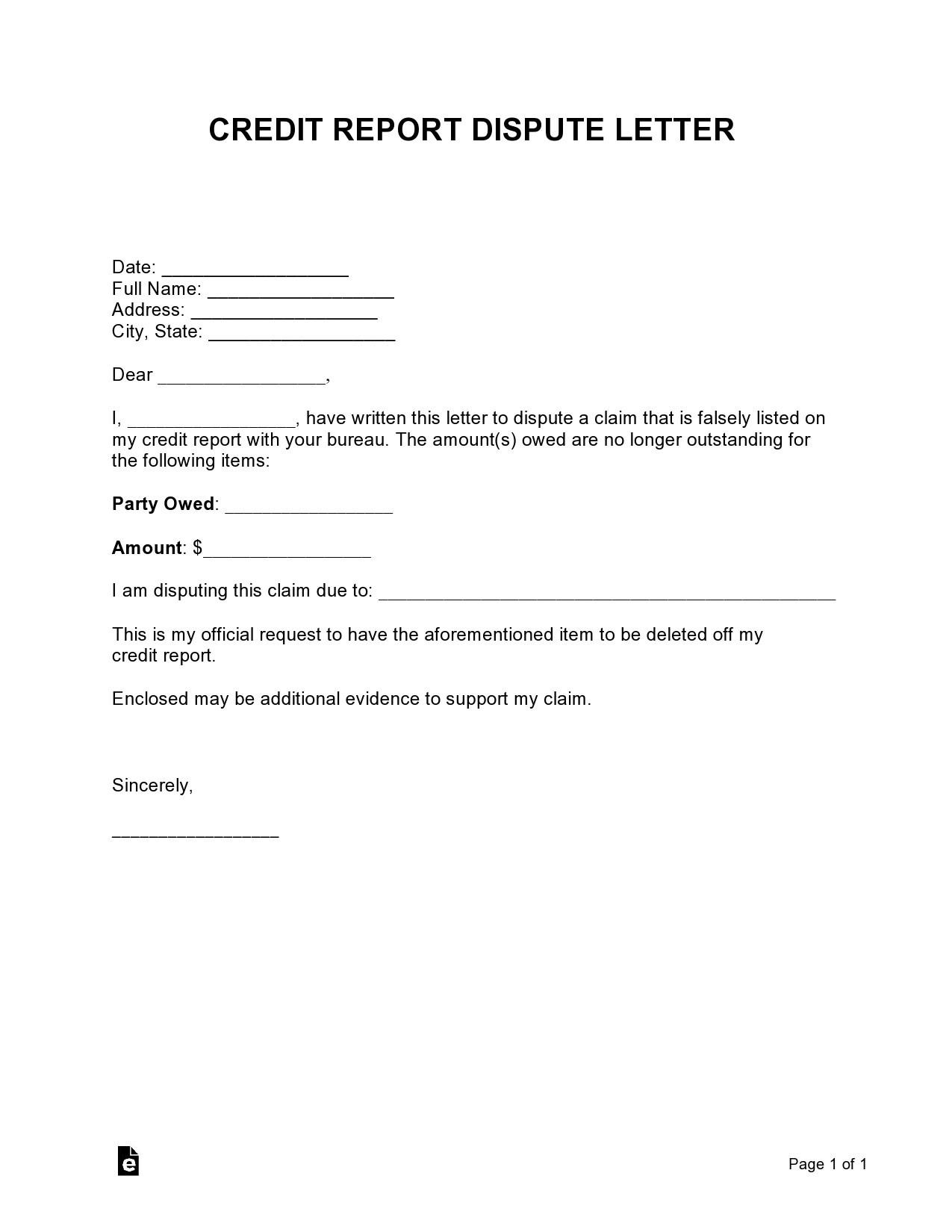 Free credit dispute letter 36