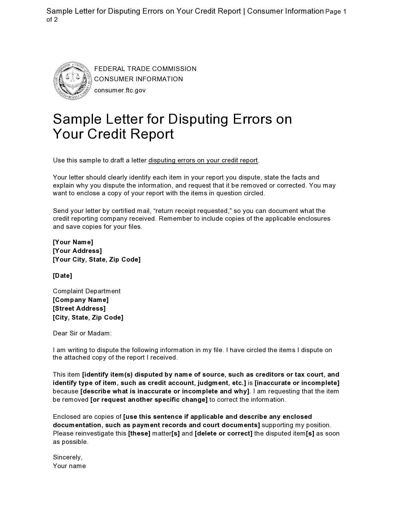 Free credit dispute letter 41