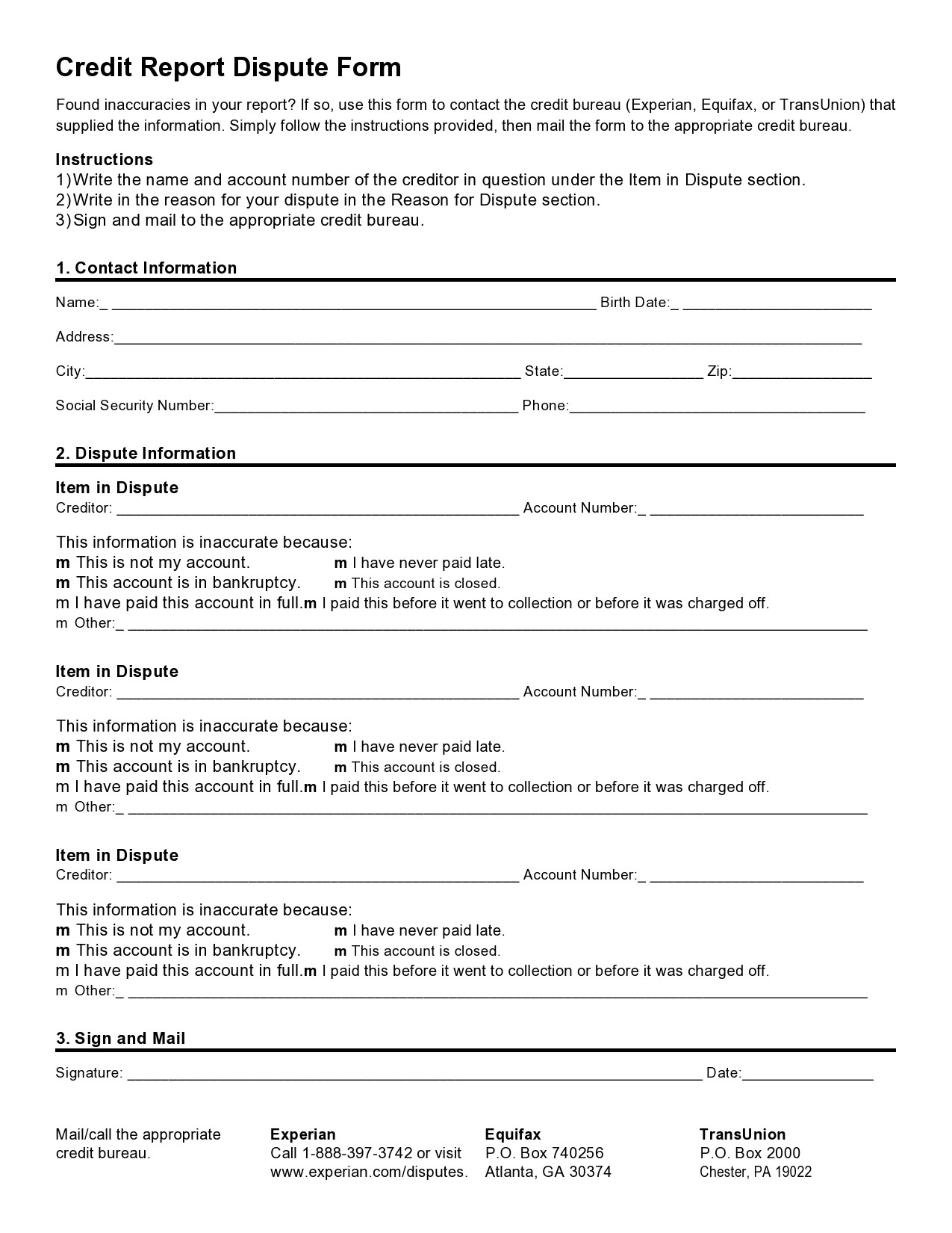 Free credit dispute letter 50
