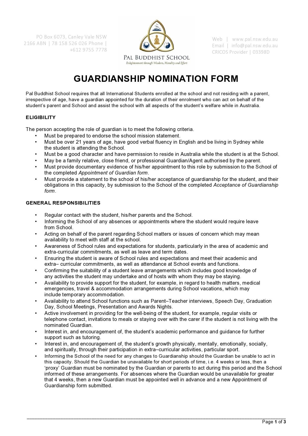 Free guardianship form 45