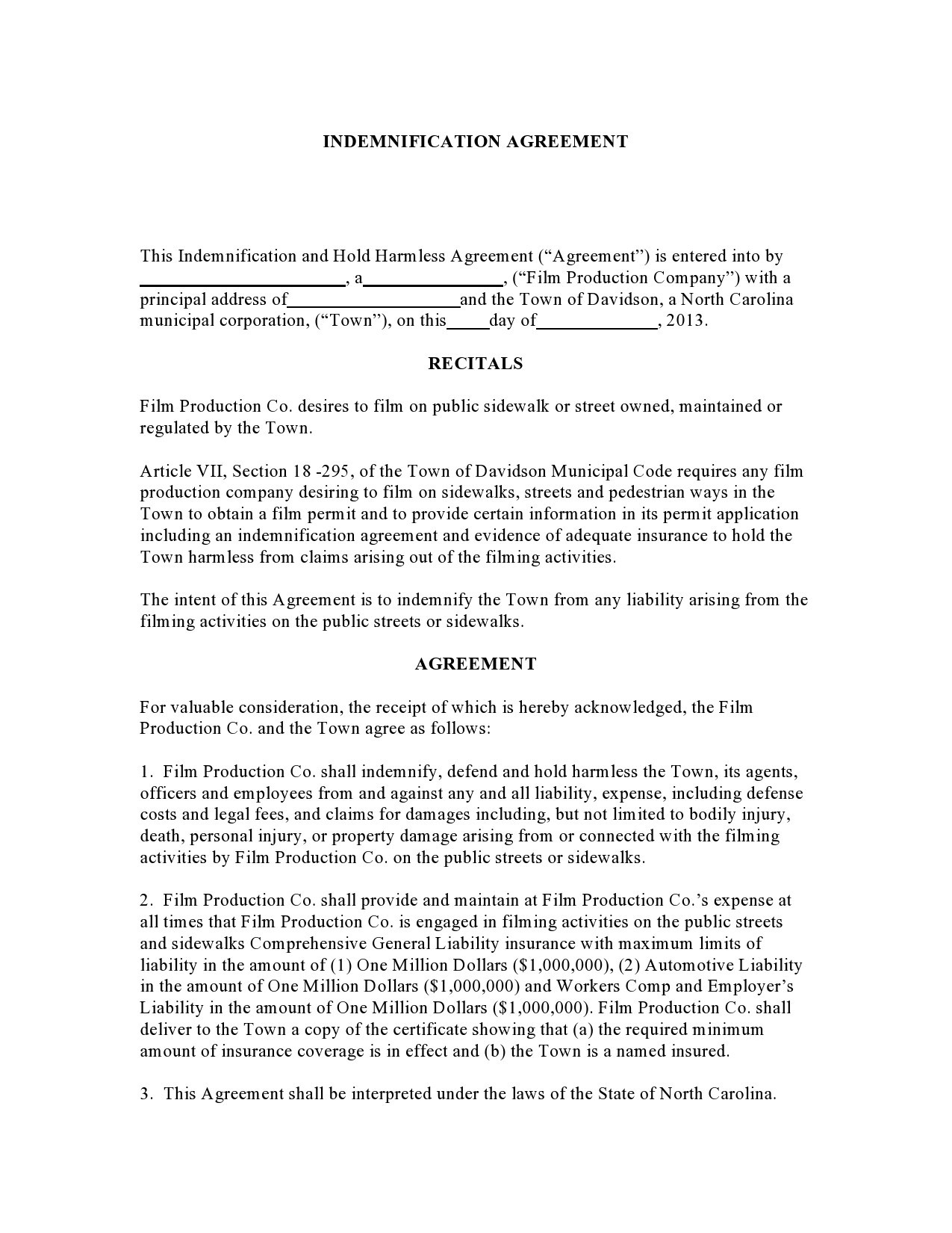 Free indemnification agreement 14
