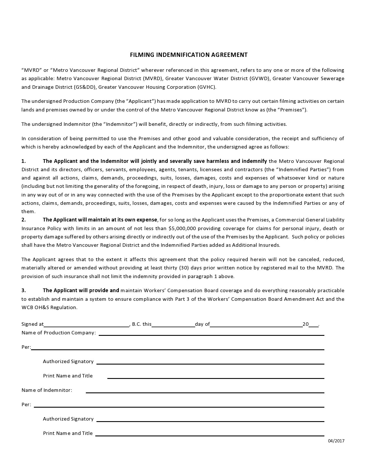 Free indemnification agreement 15