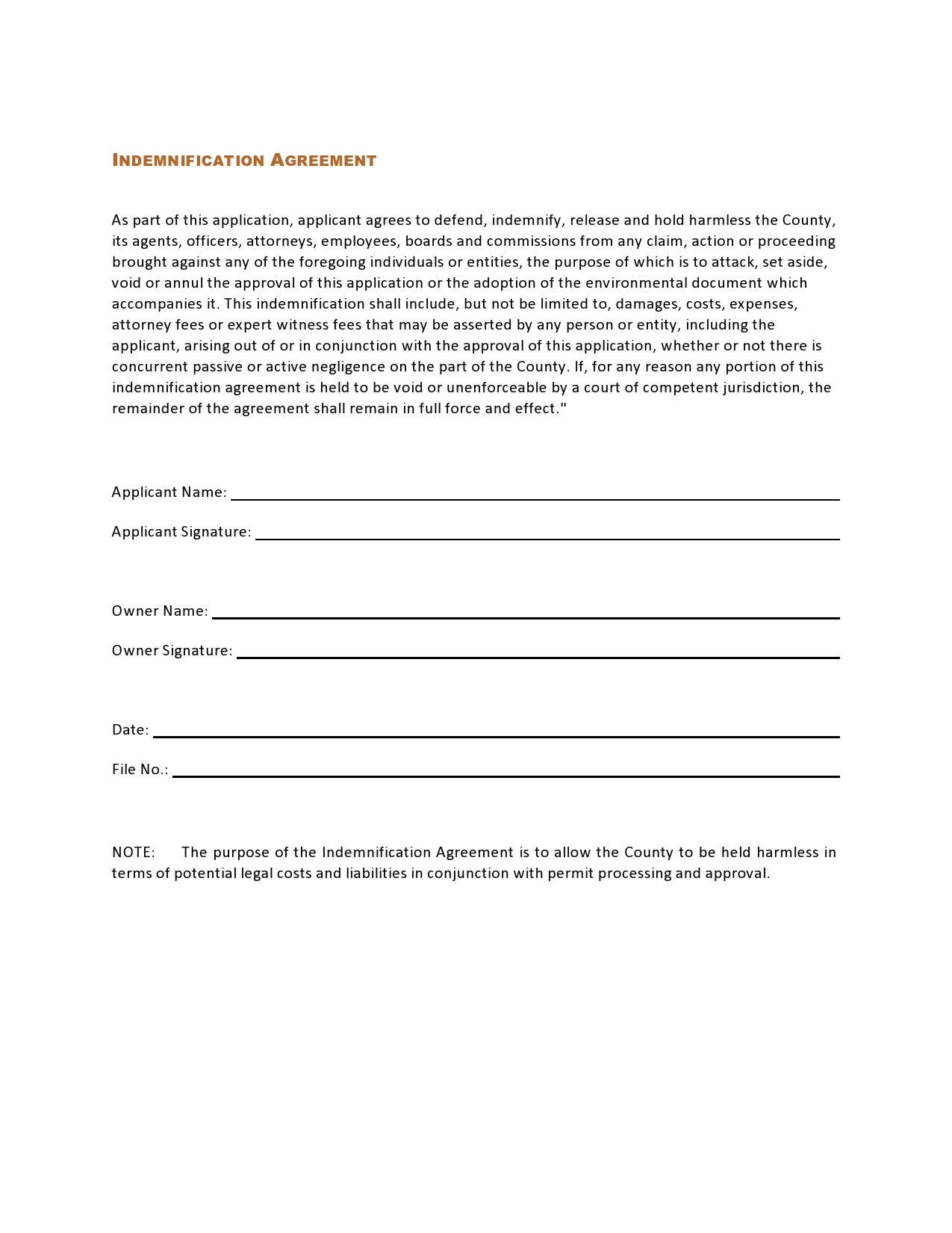 Free indemnification agreement 31