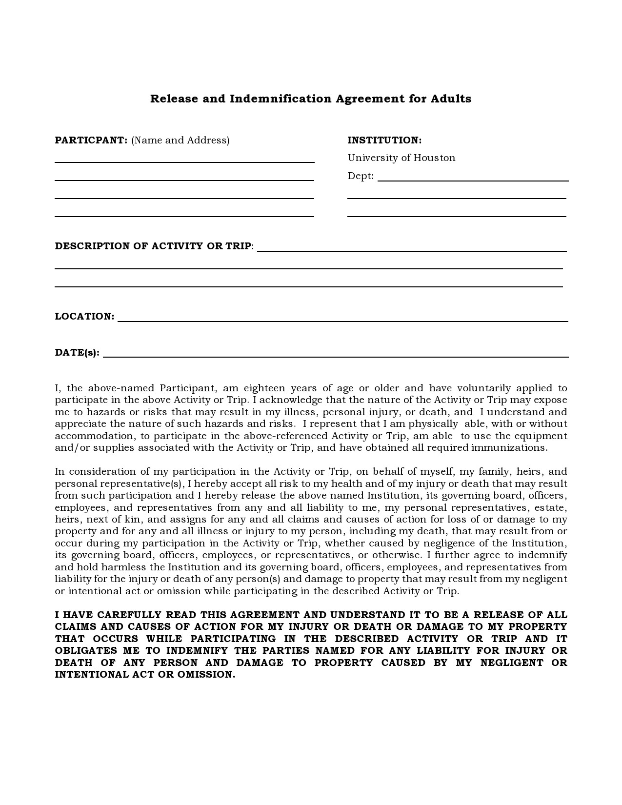 Free indemnification agreement 36