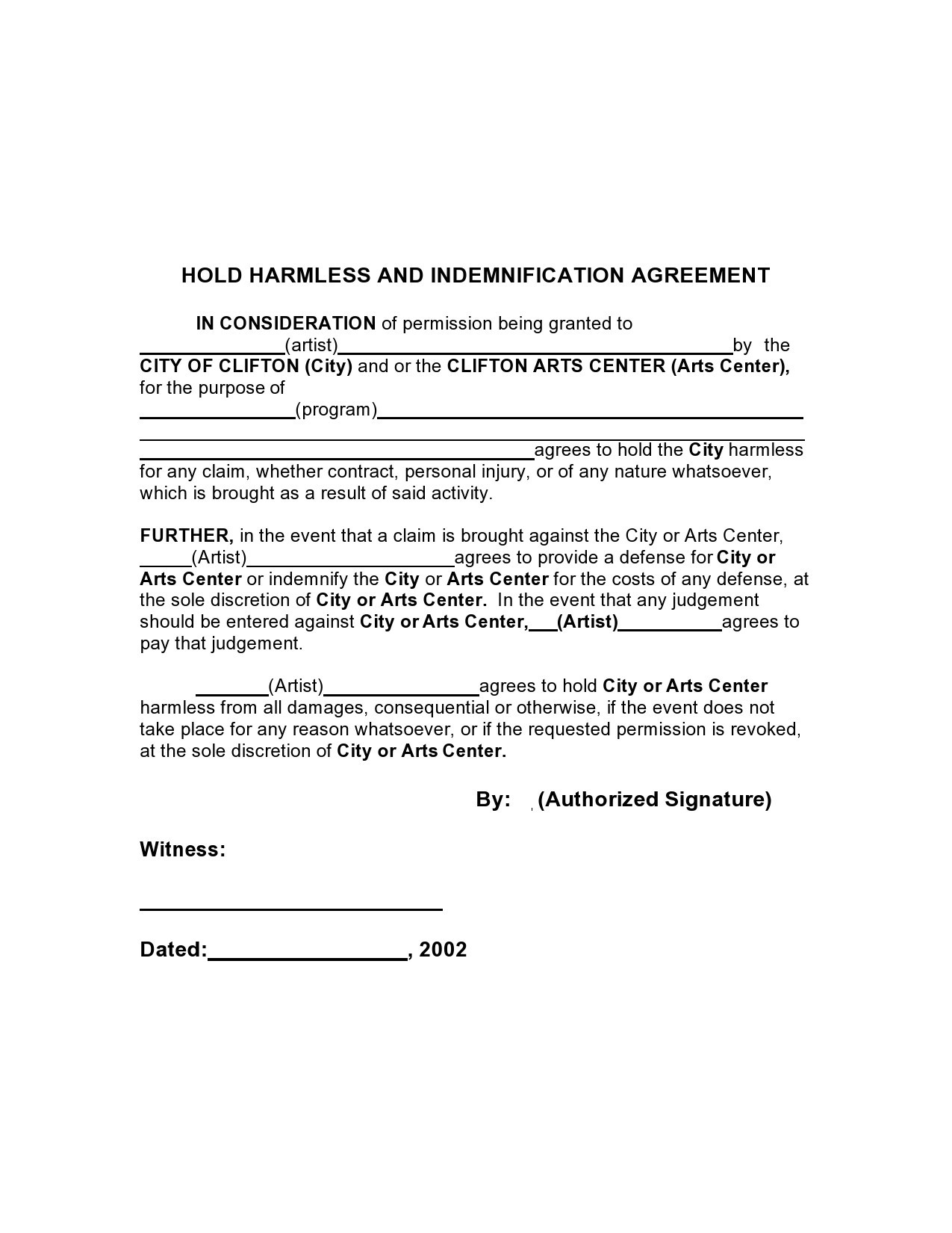 Free indemnification agreement 39