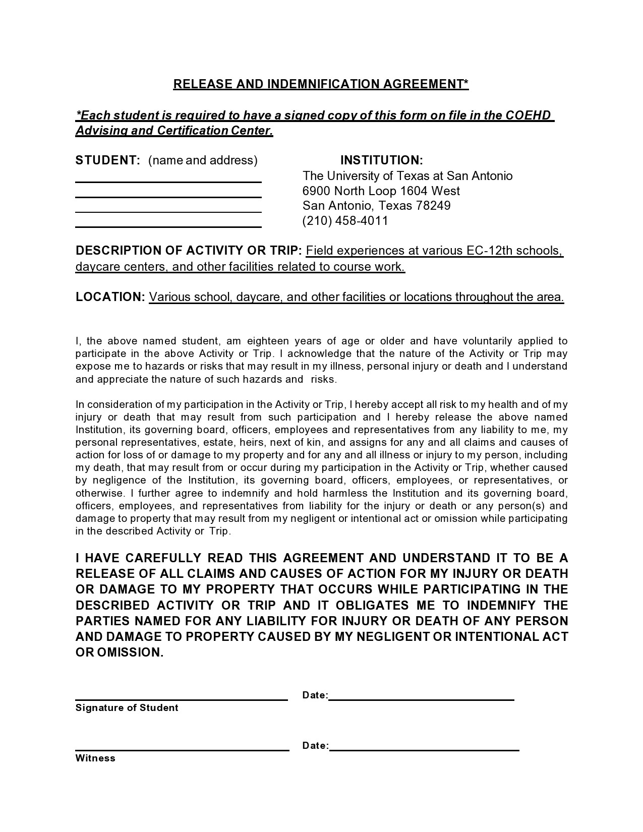 Free indemnification agreement 40