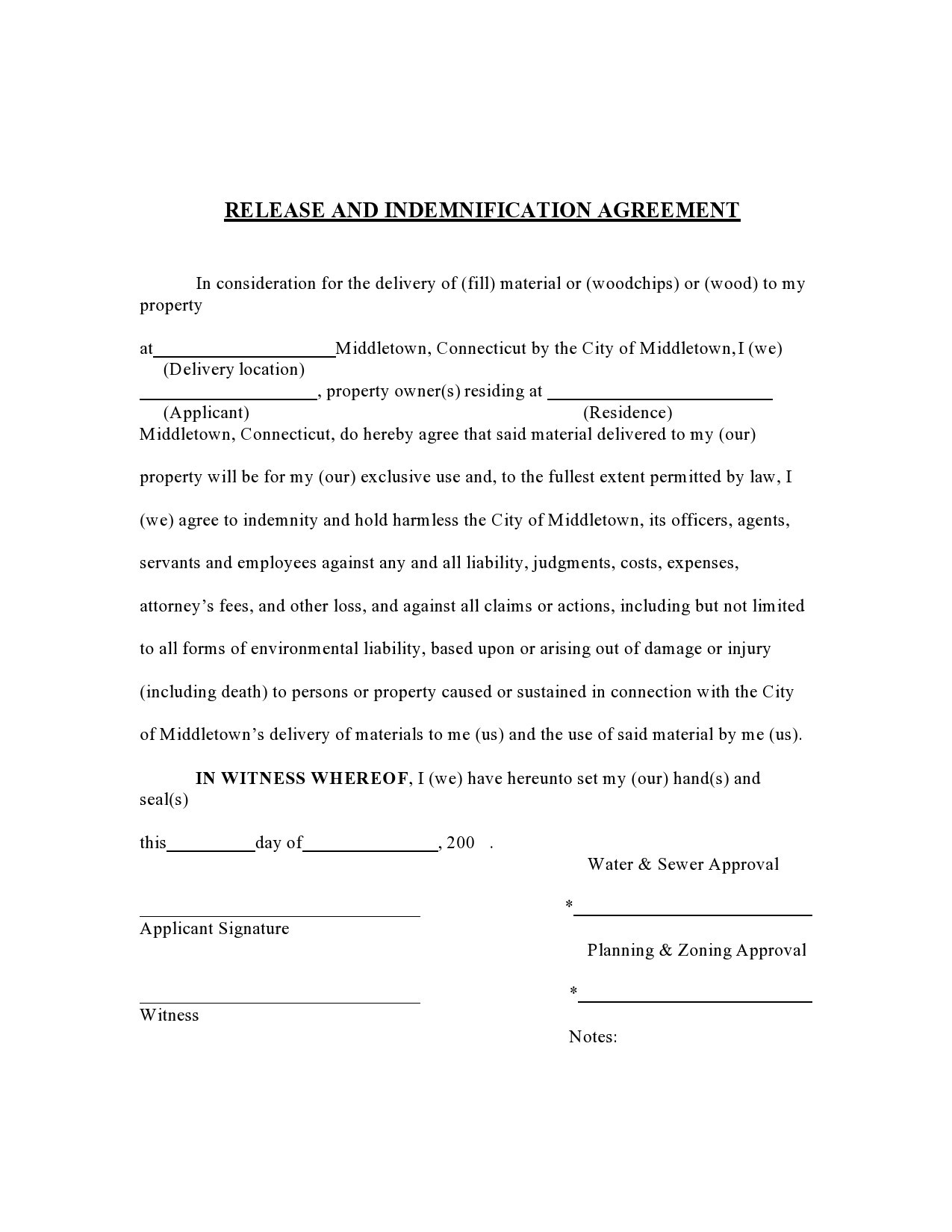 Free indemnification agreement 41