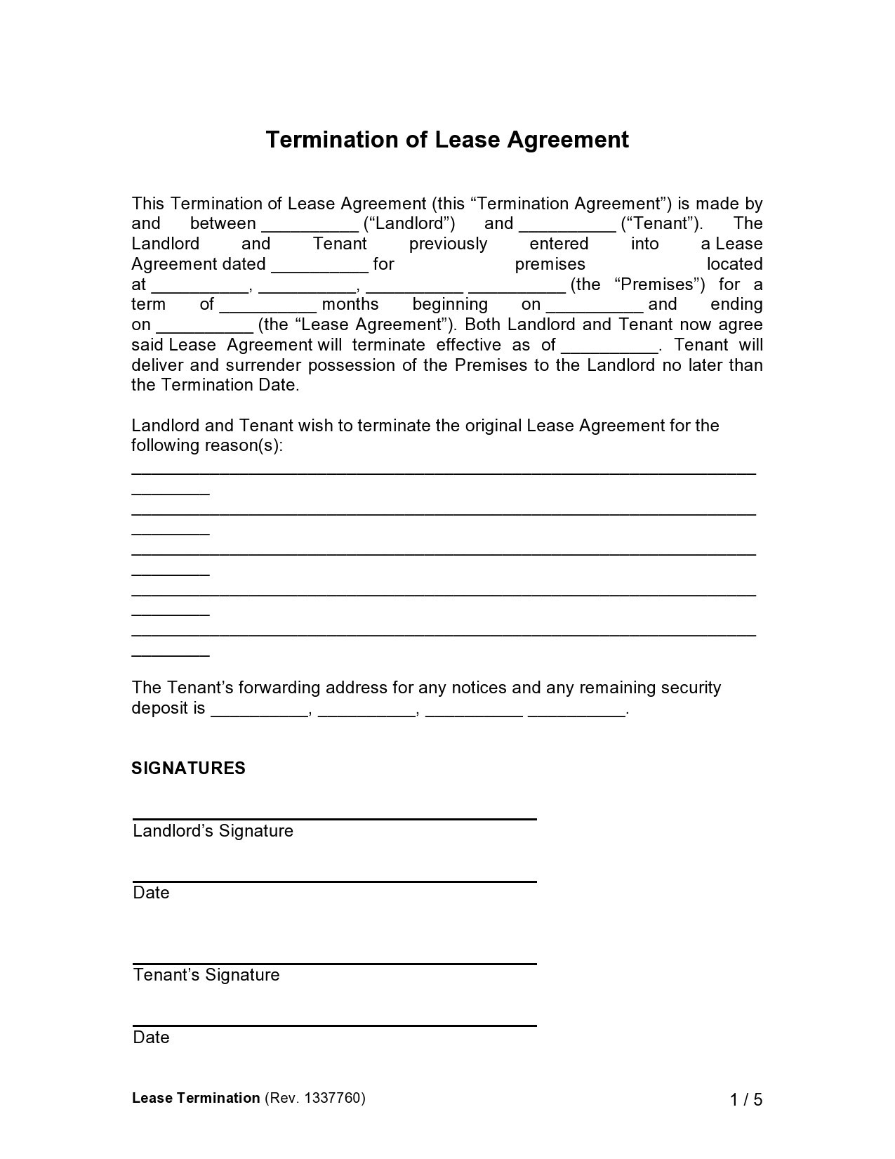 Free lease termination agreement 04