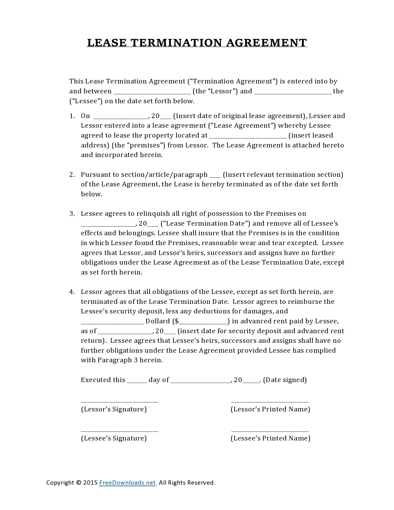 Free lease termination agreement 07