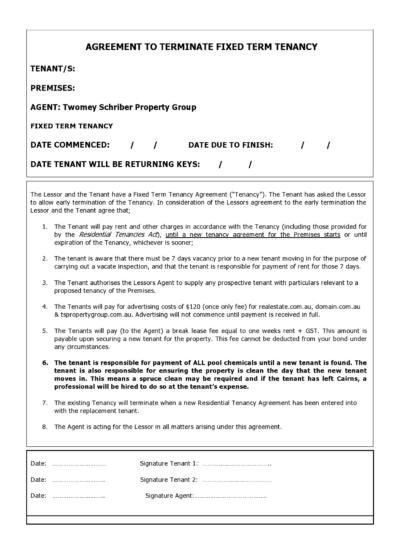 Lease Termination Agreements