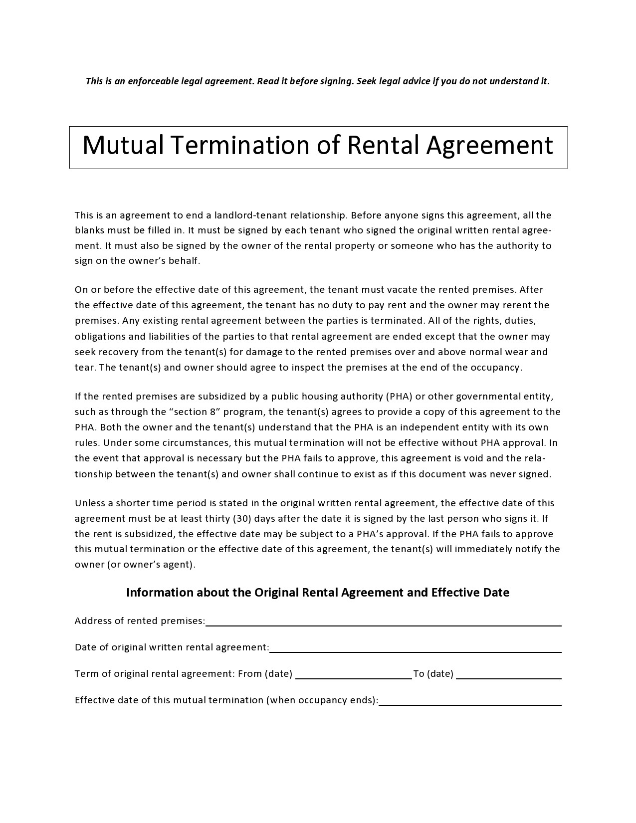 Free lease termination agreement 16