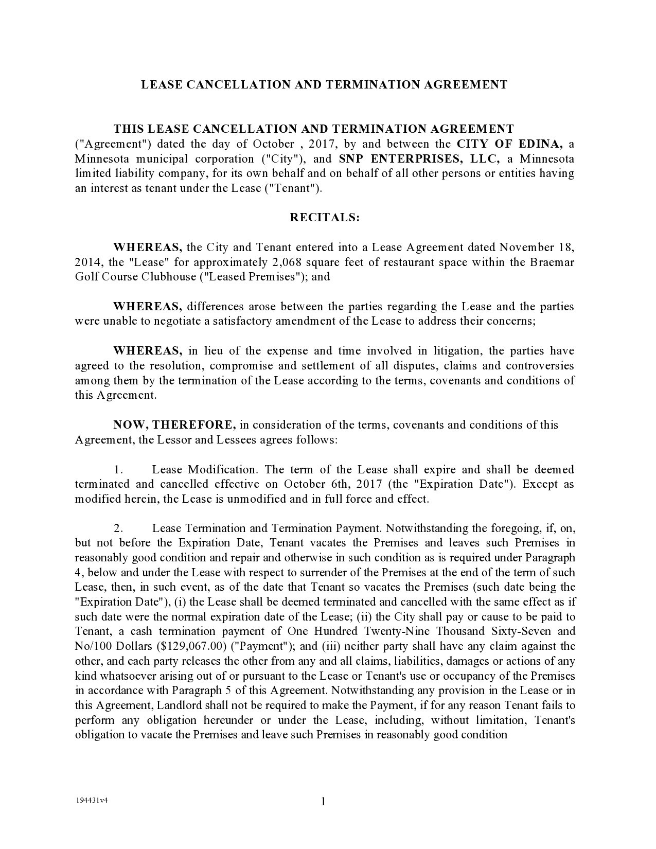 Free lease termination agreement 19
