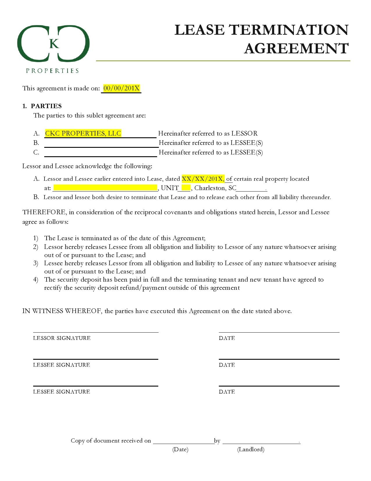 Free lease termination agreement 21