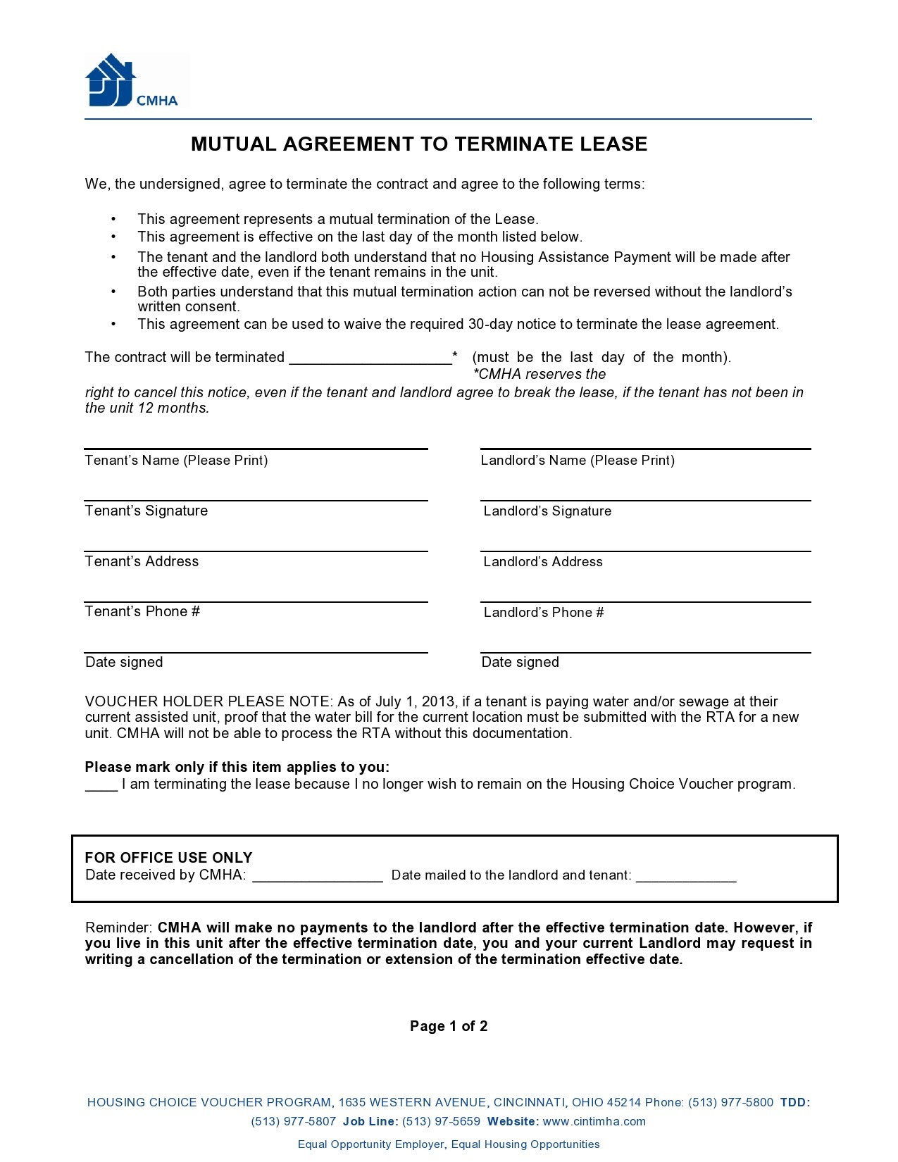 Free lease termination agreement 24