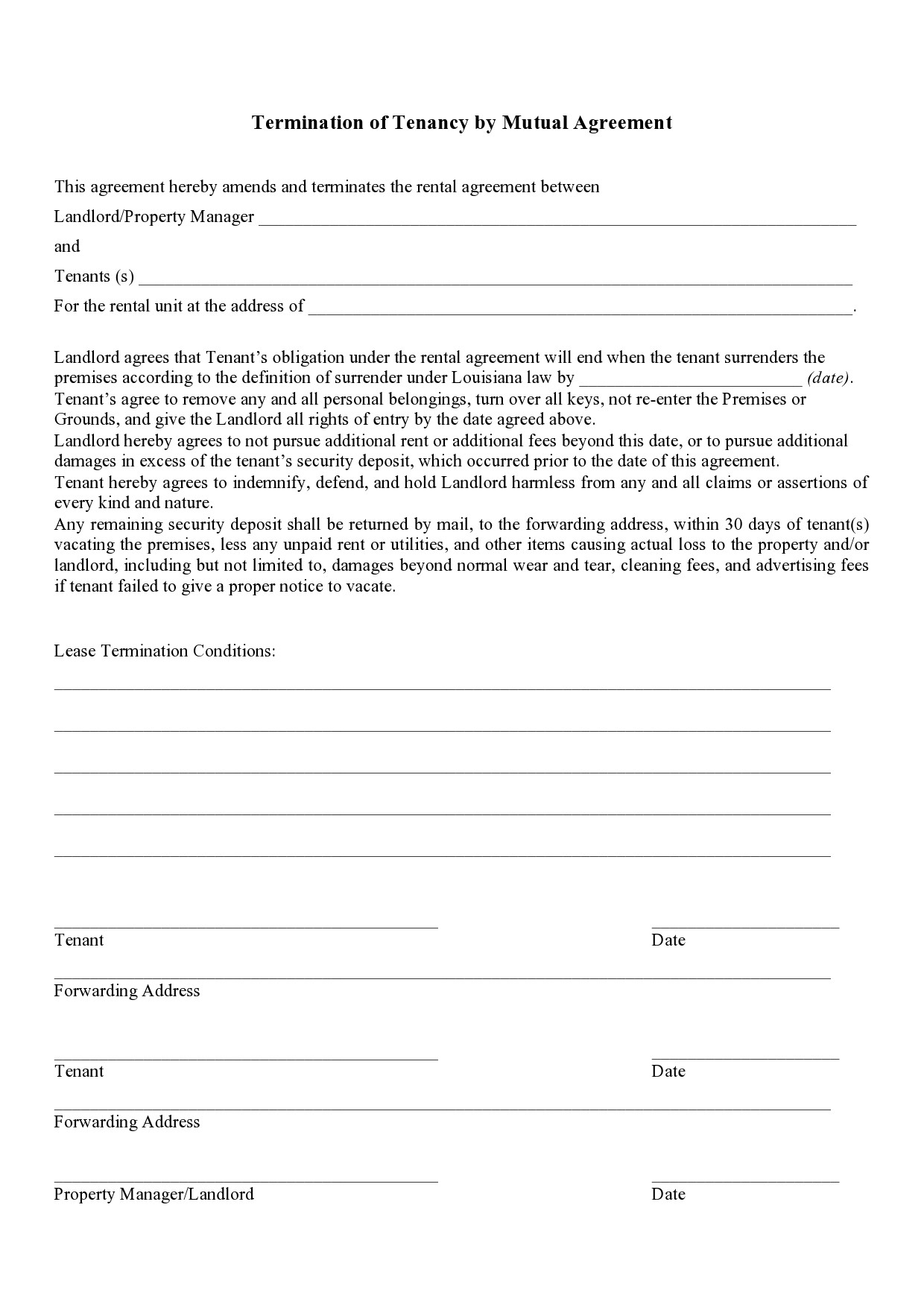 Free lease termination agreement 33