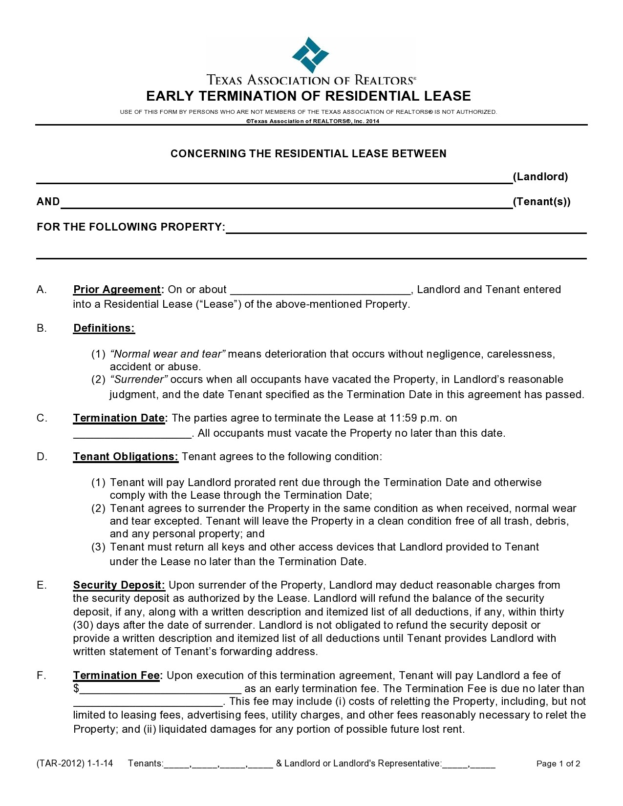 Free lease termination agreement 34