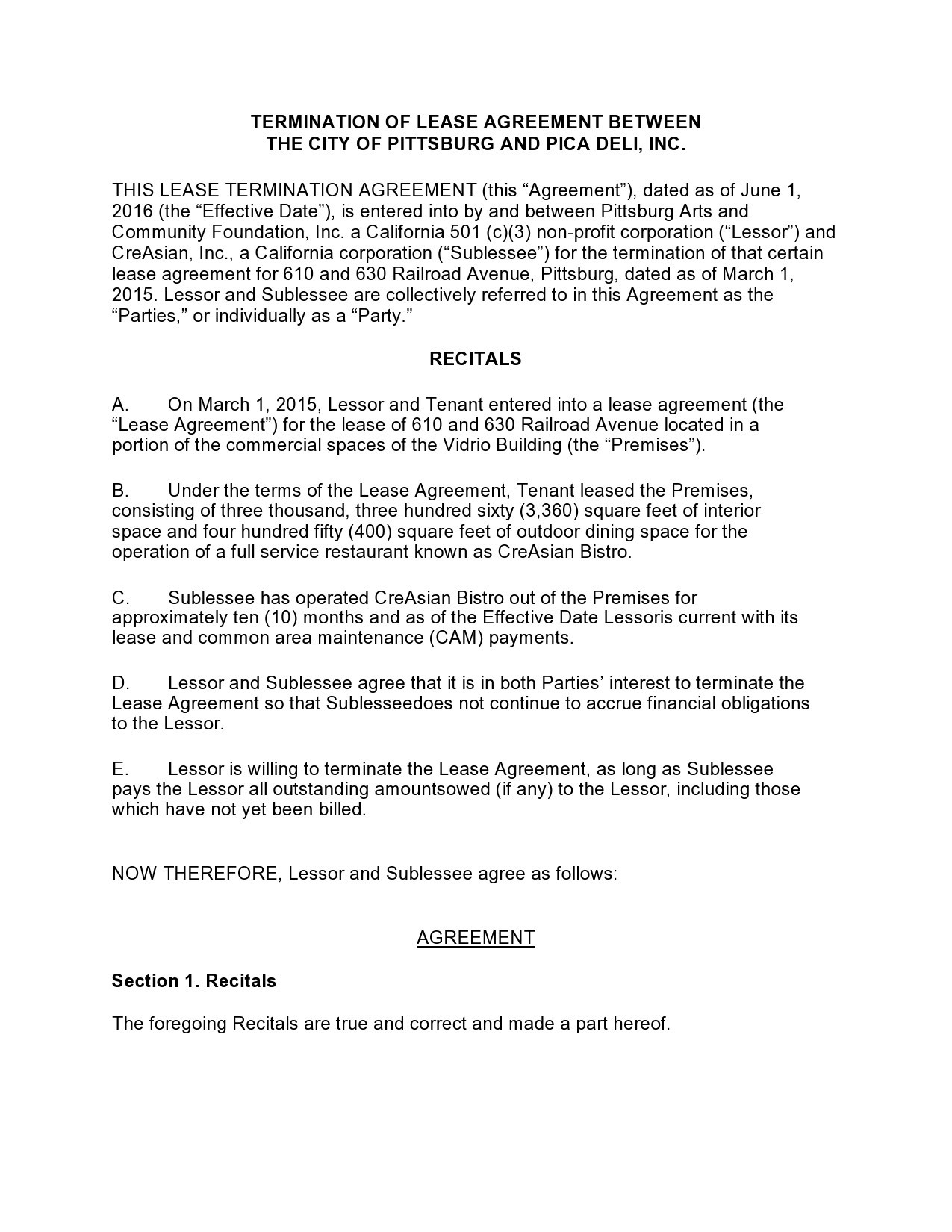 Free lease termination agreement 42