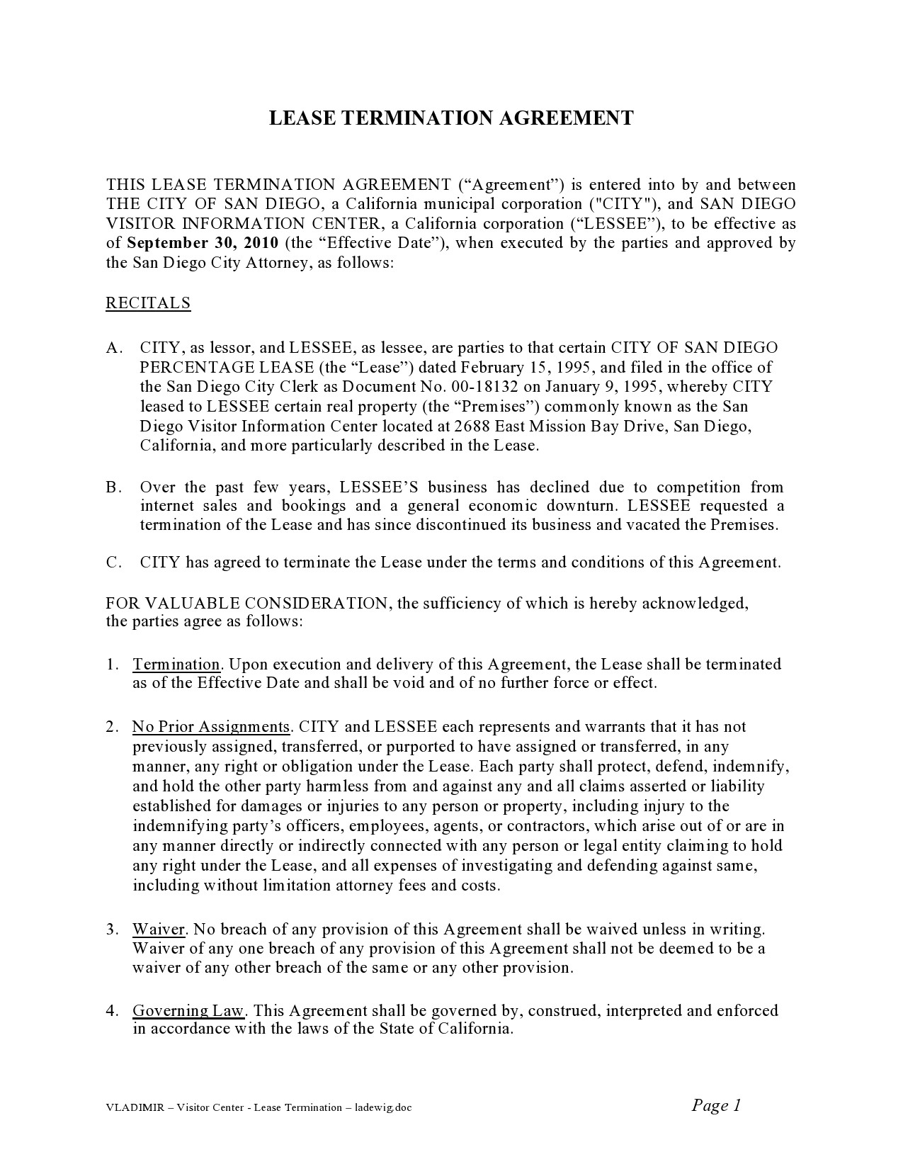 Free lease termination agreement 46