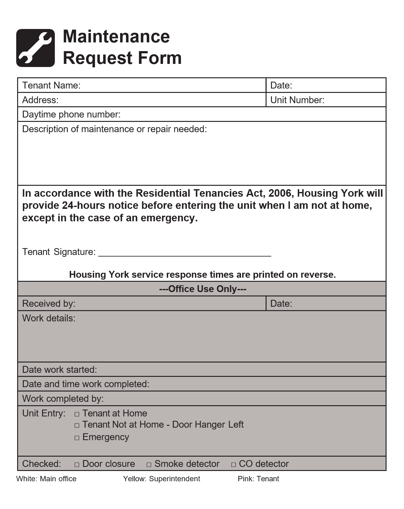 Free maintenance request form 08