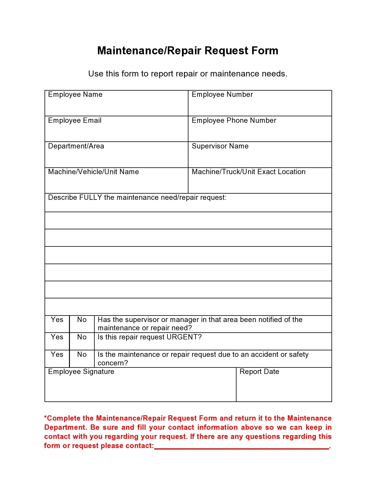 Free maintenance request form 13