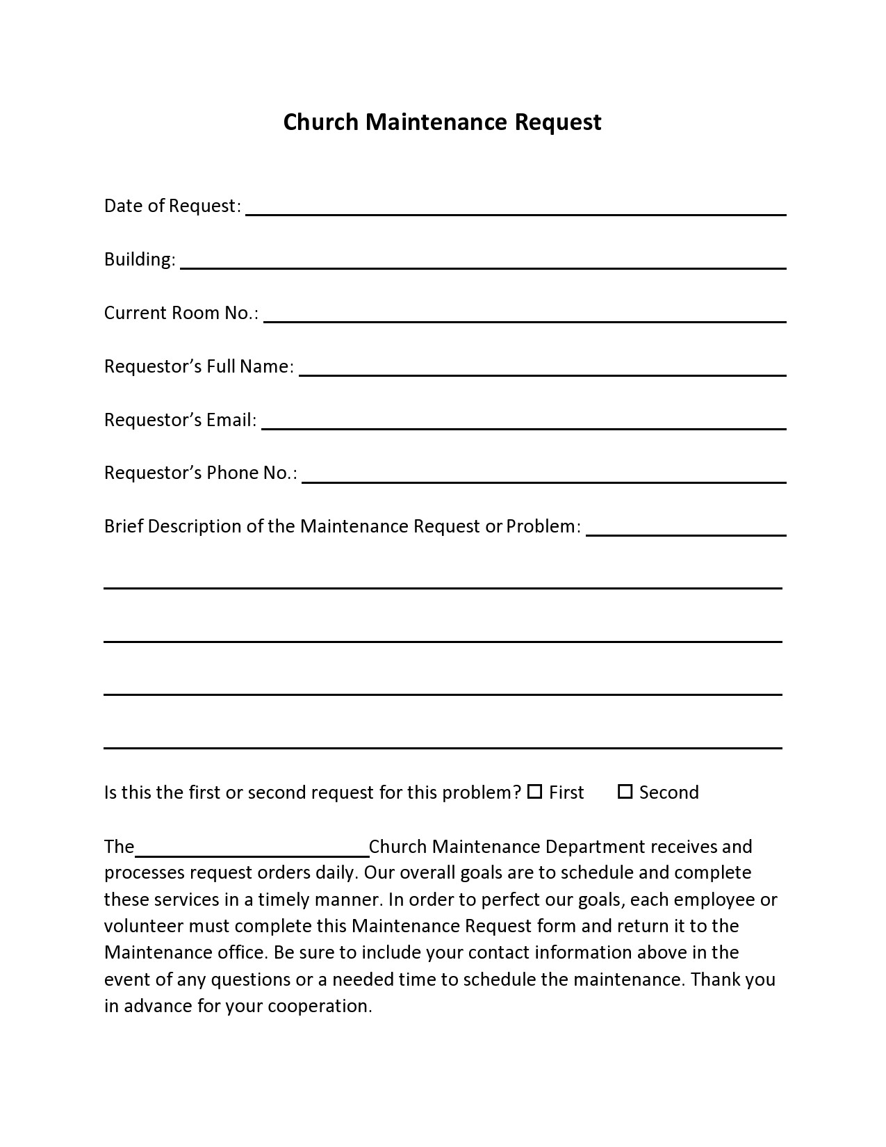 Free maintenance request form 14