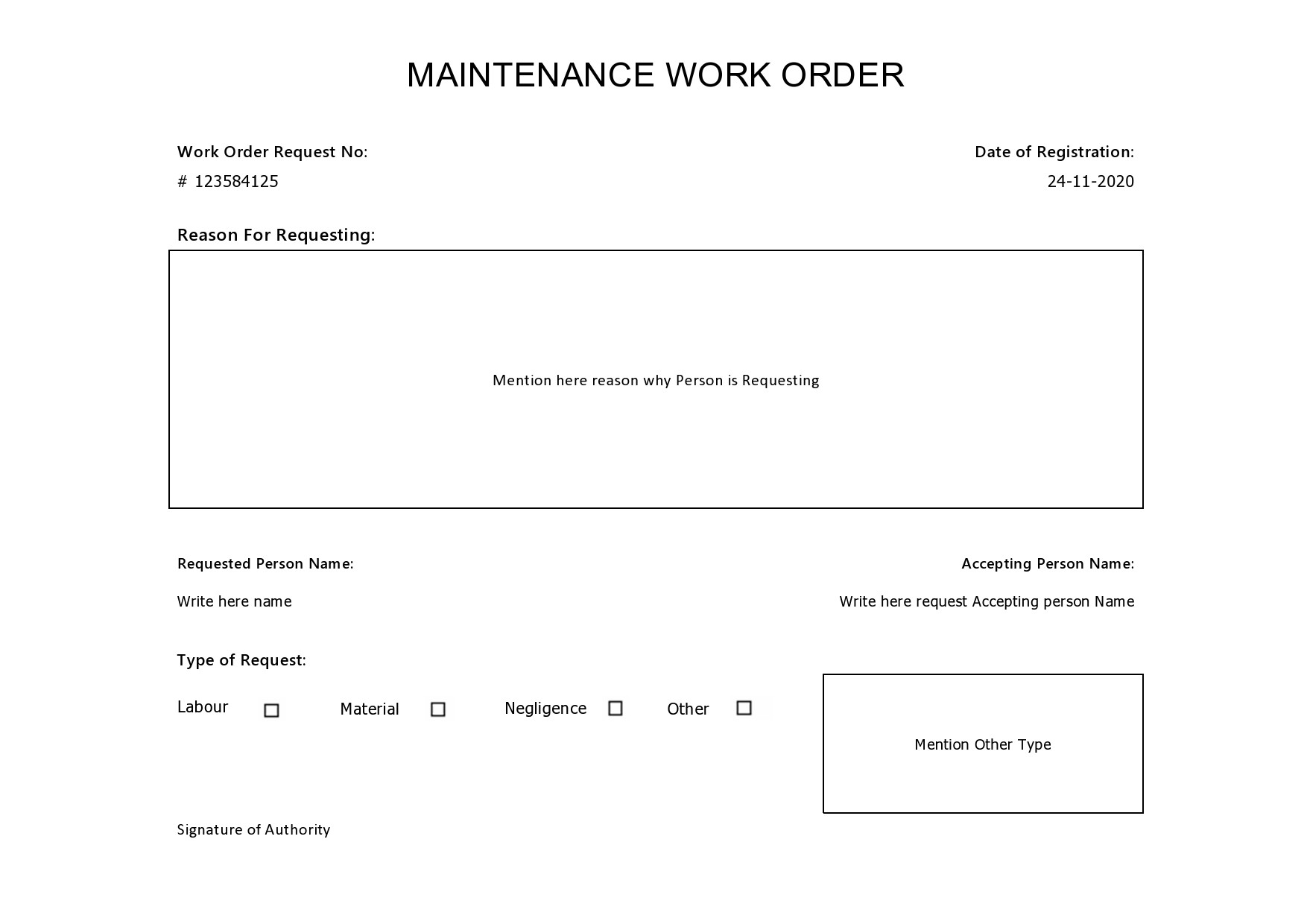 Free maintenance request form 15