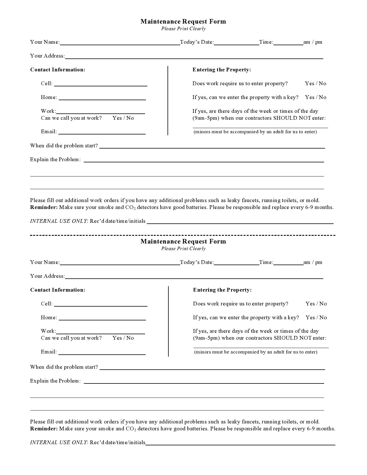 Free maintenance request form 17
