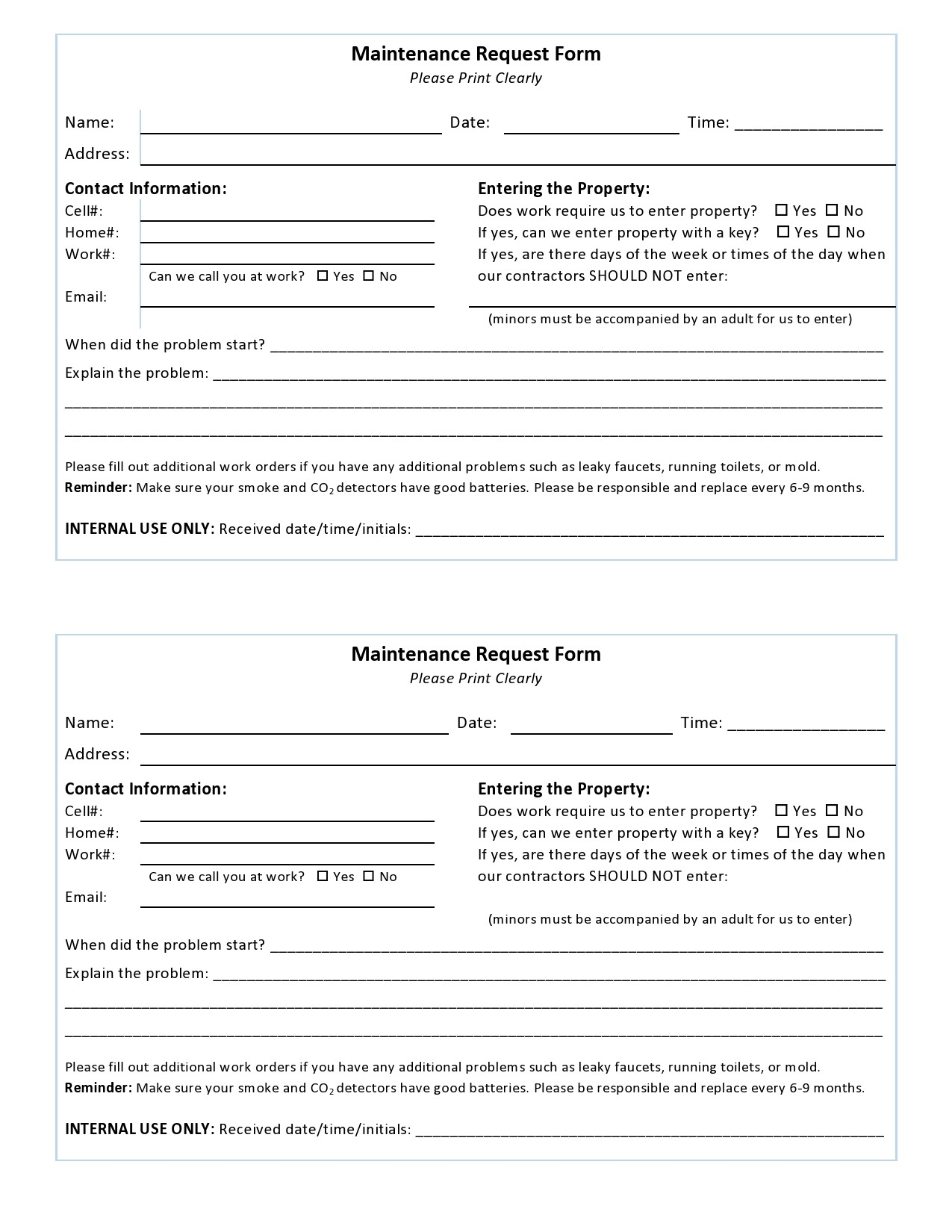 Free maintenance request form 22