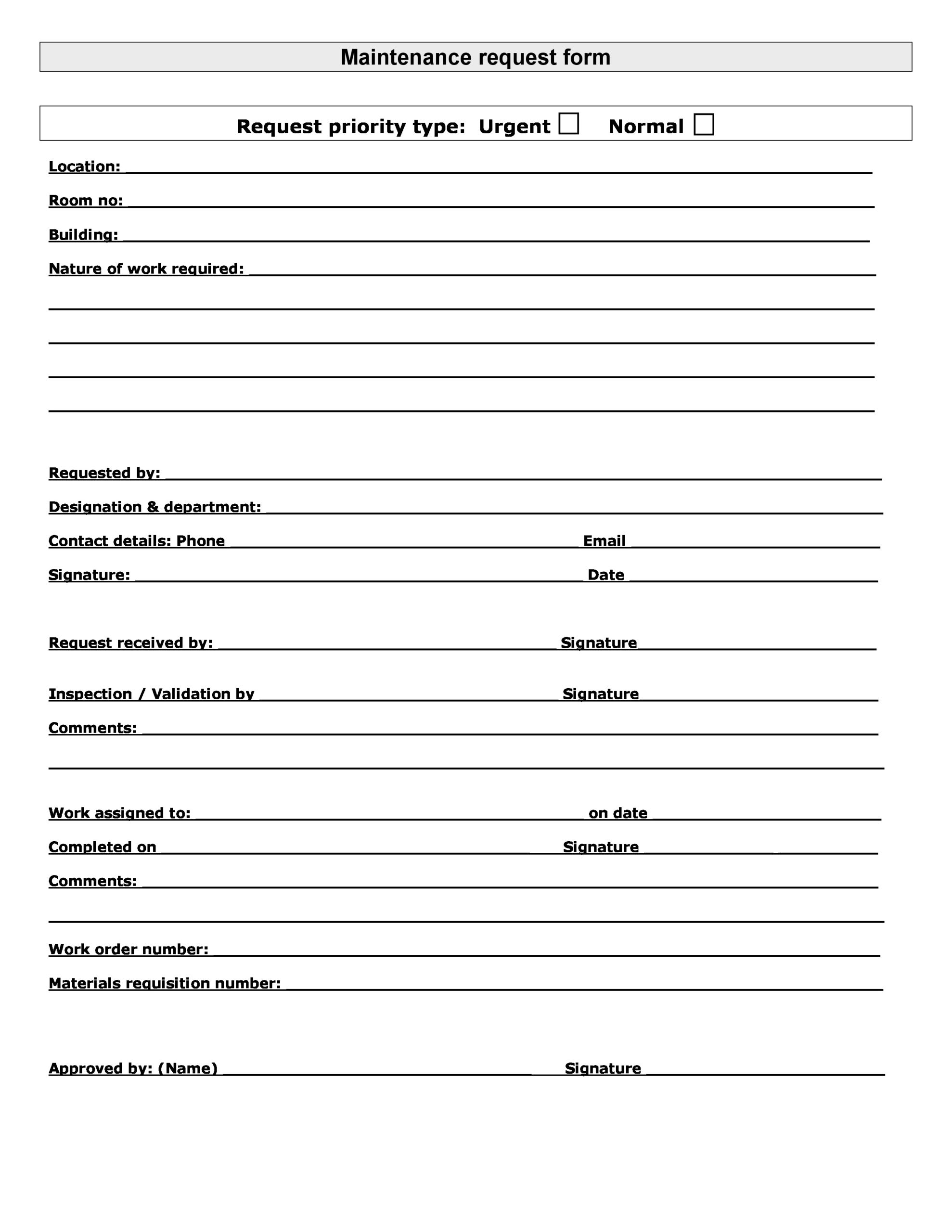 Free maintenance request form 25