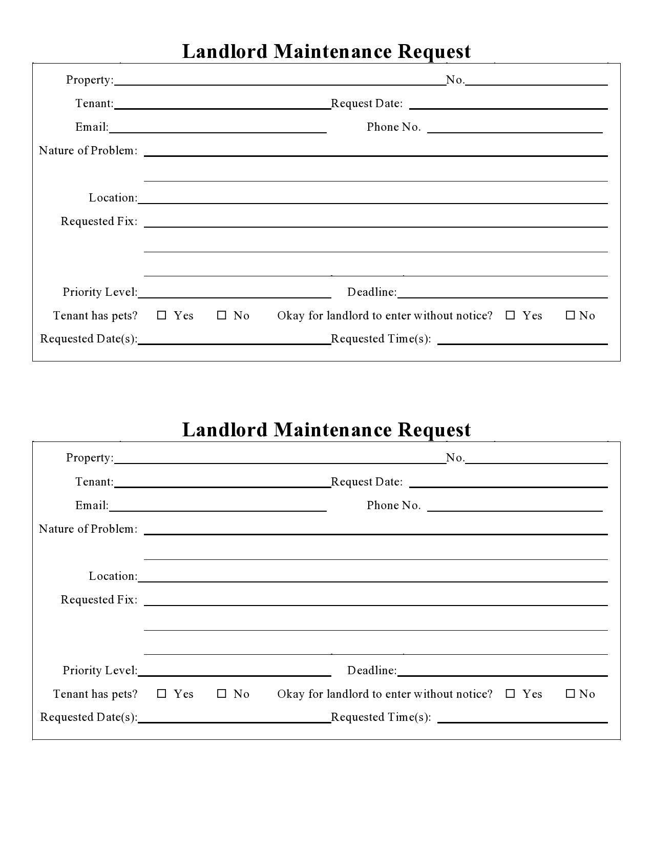 Free maintenance request form 29
