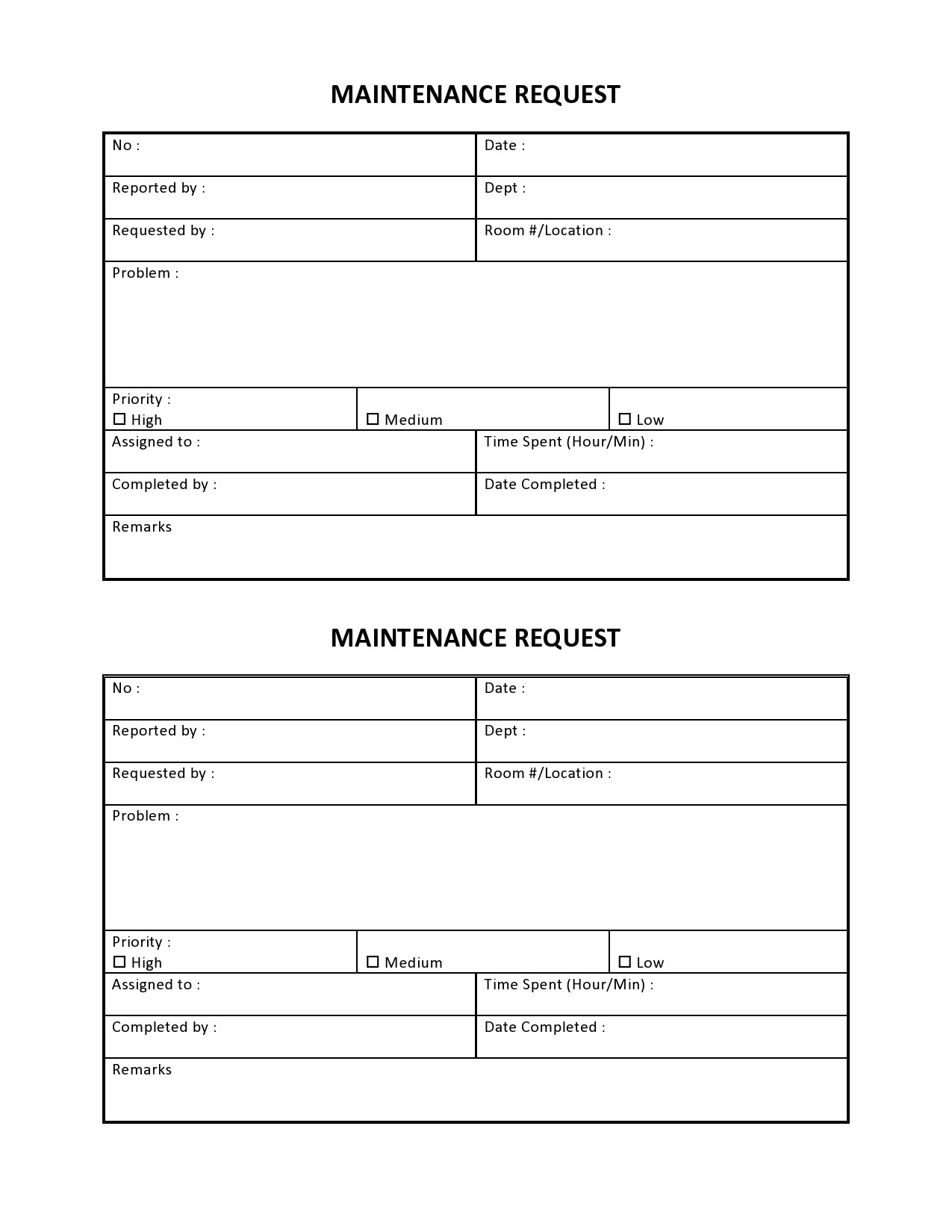 Free maintenance request form 30