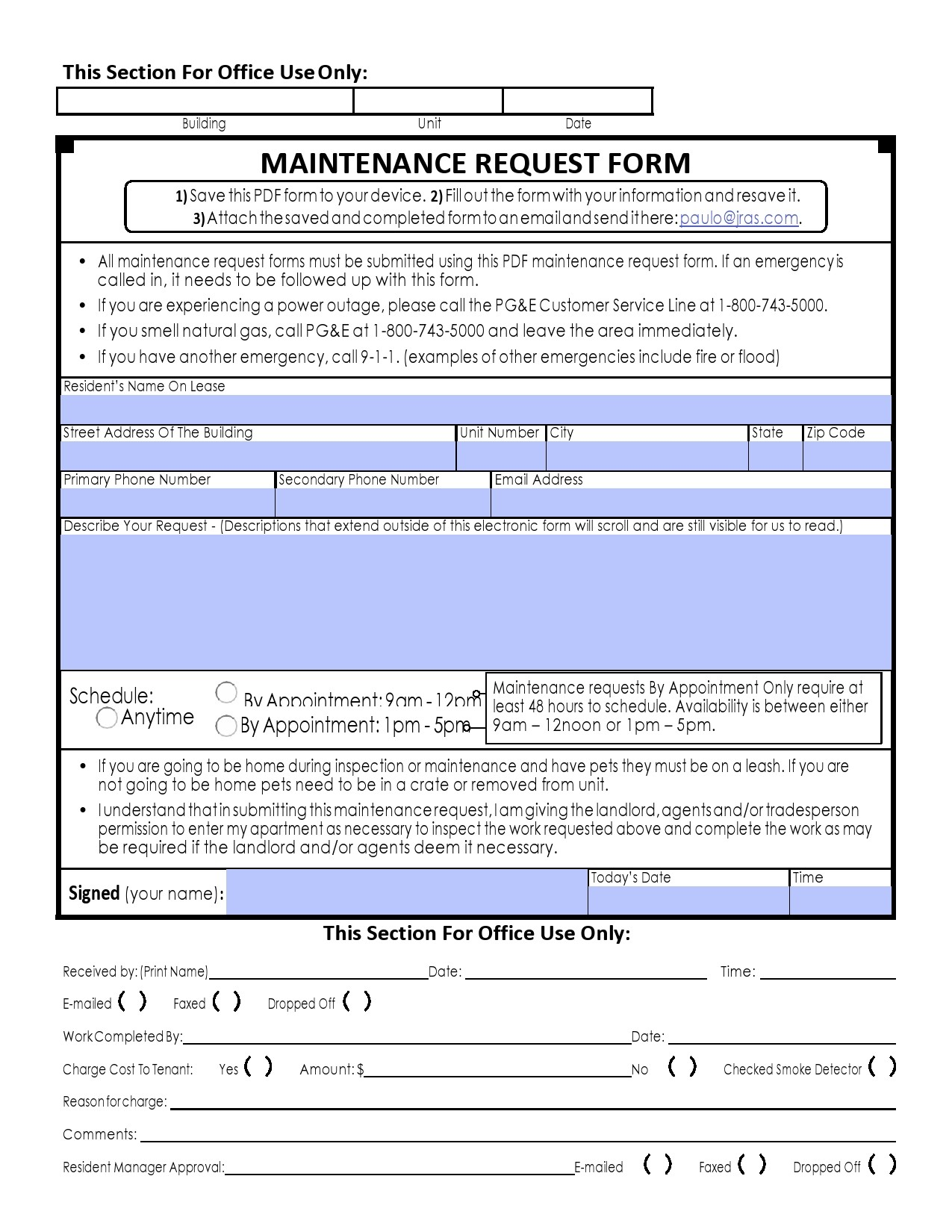 Free maintenance request form 32